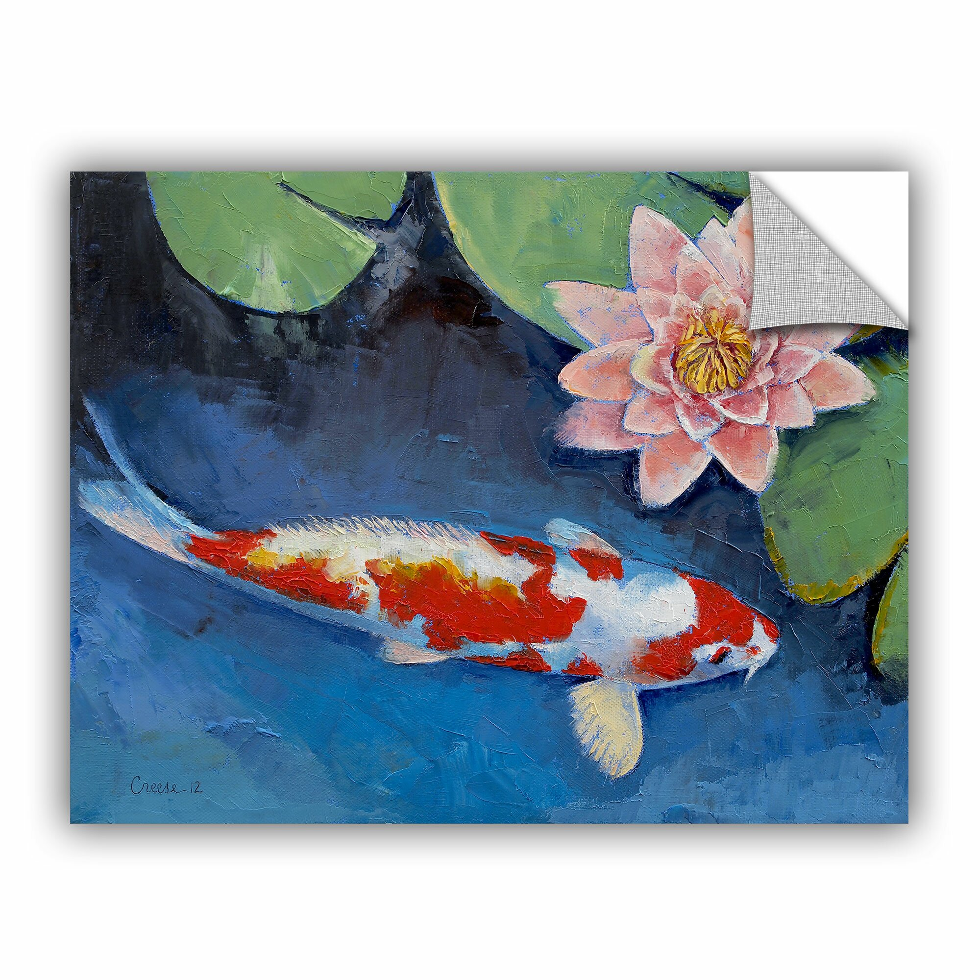 Artwall artapeelz koi and water lily by michael creese for Koi canvas print