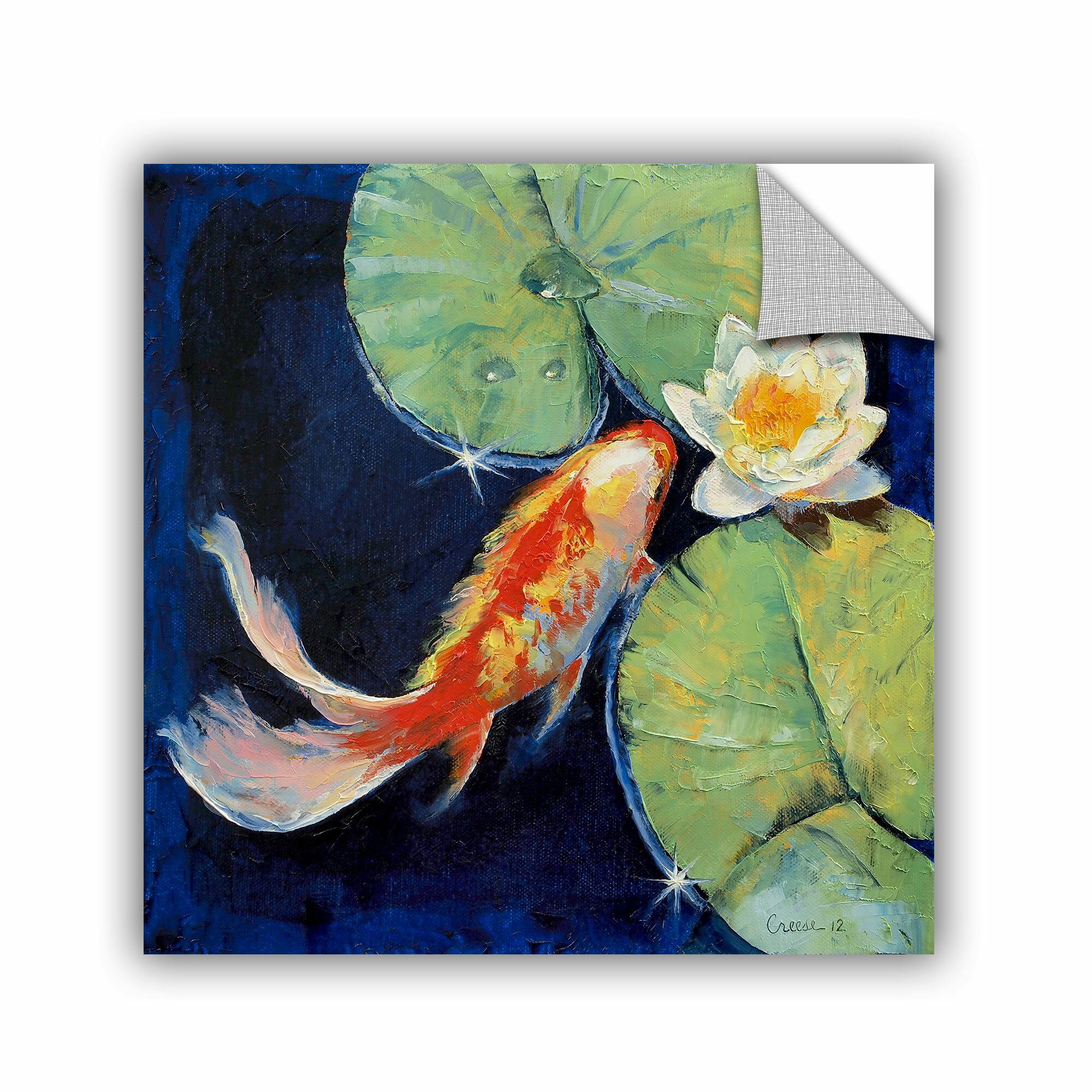Artwall artapeelz koi and white lily by michael creese for Koi canvas print
