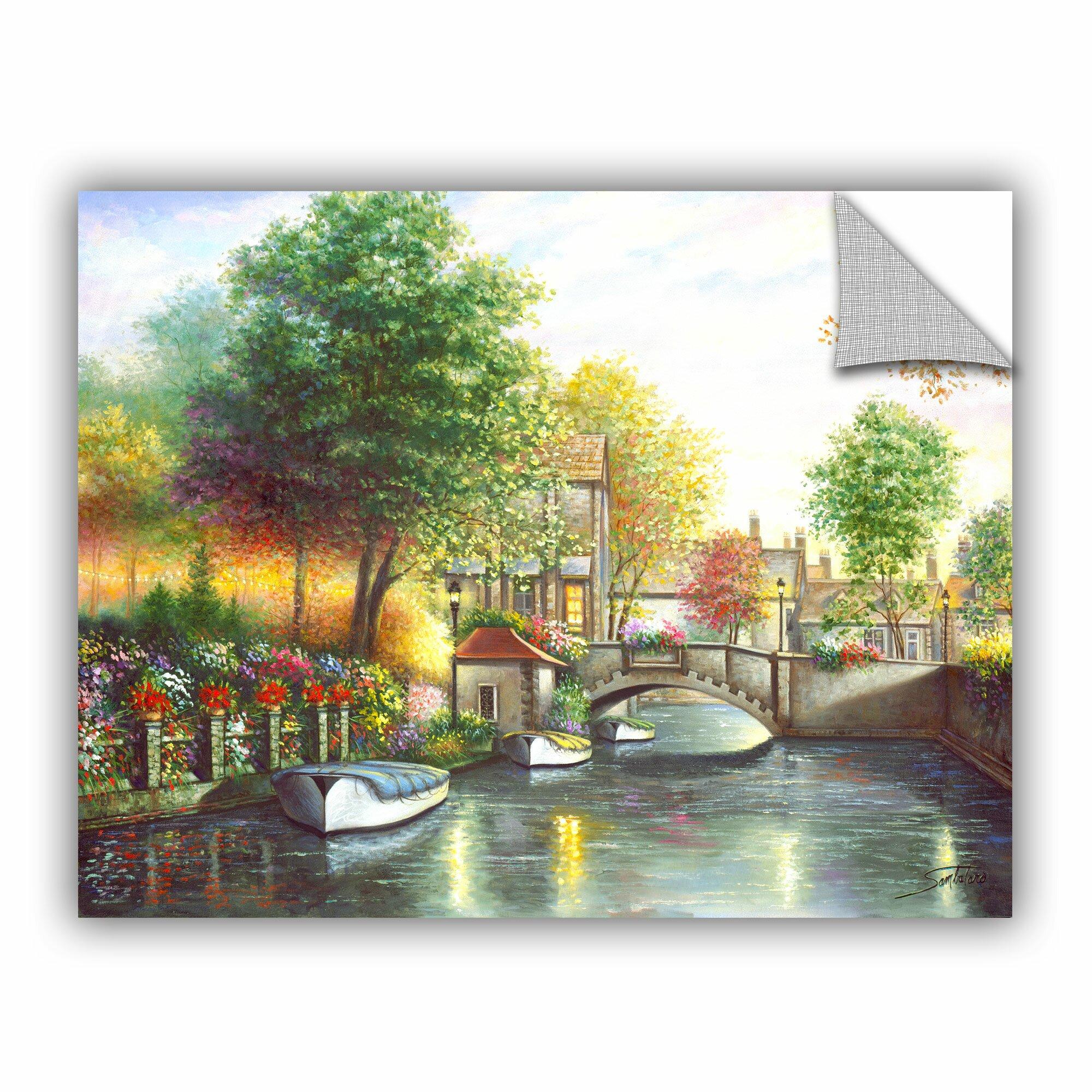 Artwall canal bridge wall mural wayfair for Canal fluminense mural
