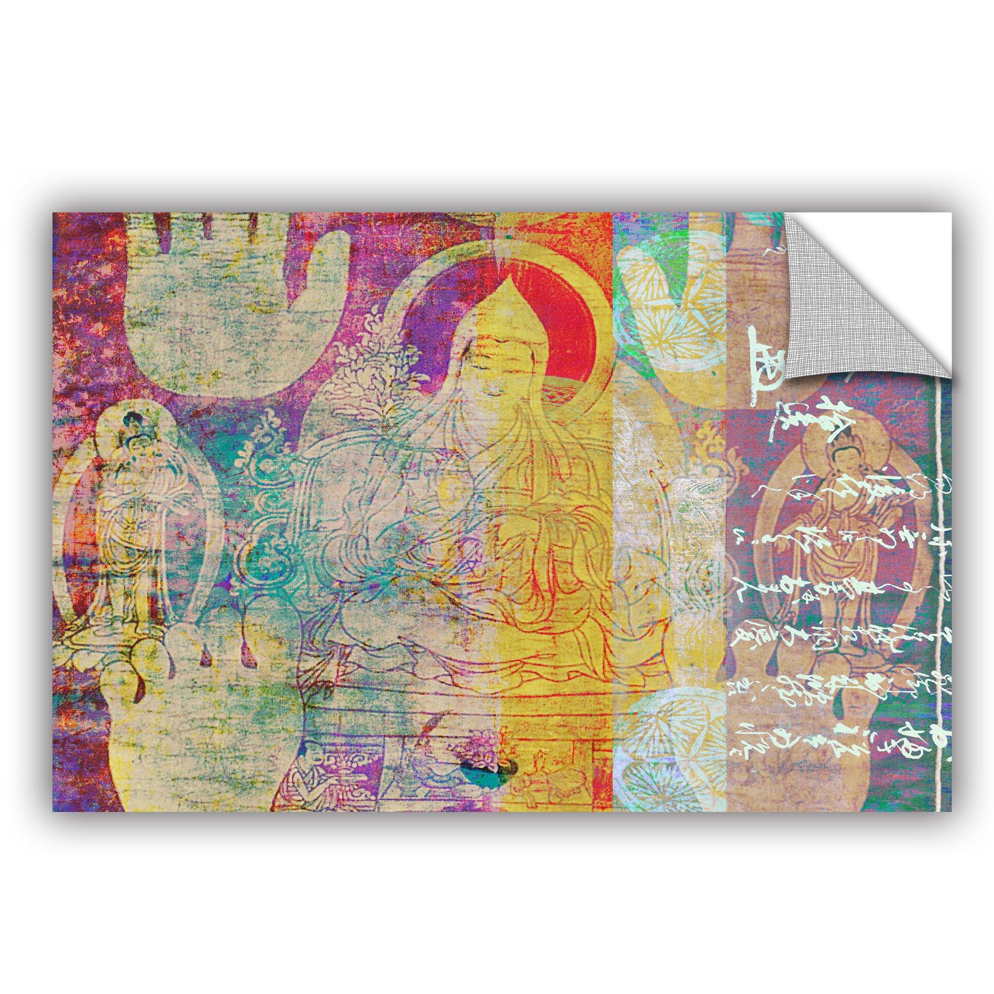 Artwall hi five buddha wall mural wayfair for Buddha wall mural