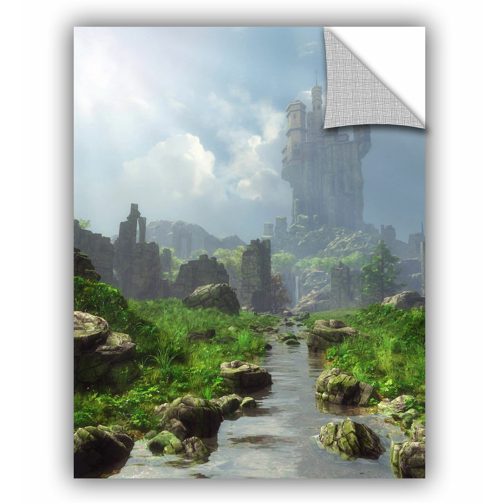Artwall distant castle wall mural wayfair for Castle wall mural
