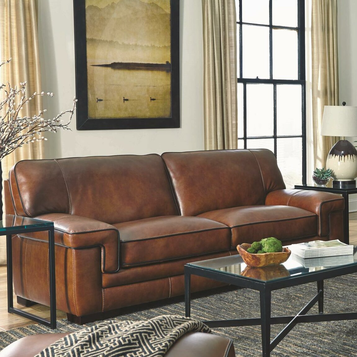 Simon Li Macco Leather Sofa Amp Reviews Wayfair Ca