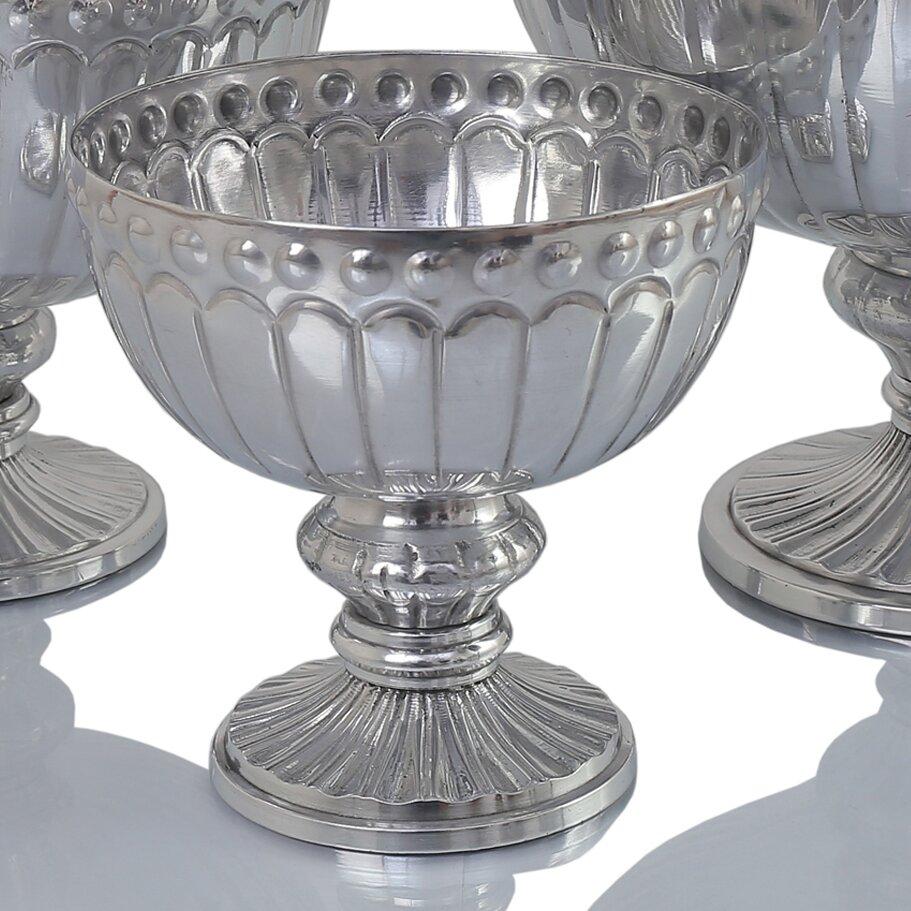 Koyal wholesale silver flower compote vase pedestal bowl
