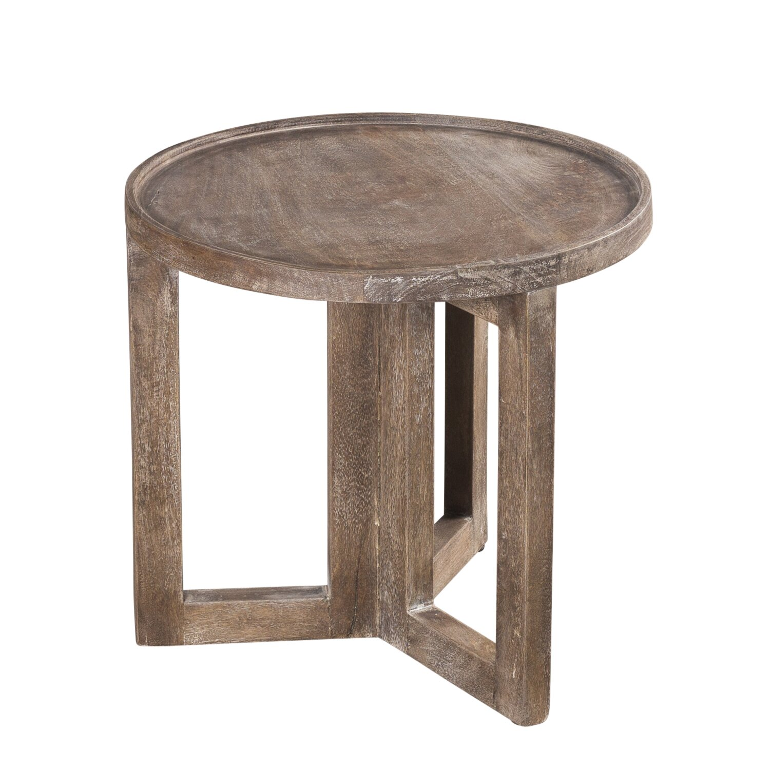 wildon home distressed modern round small side table reviews wayfair. Black Bedroom Furniture Sets. Home Design Ideas