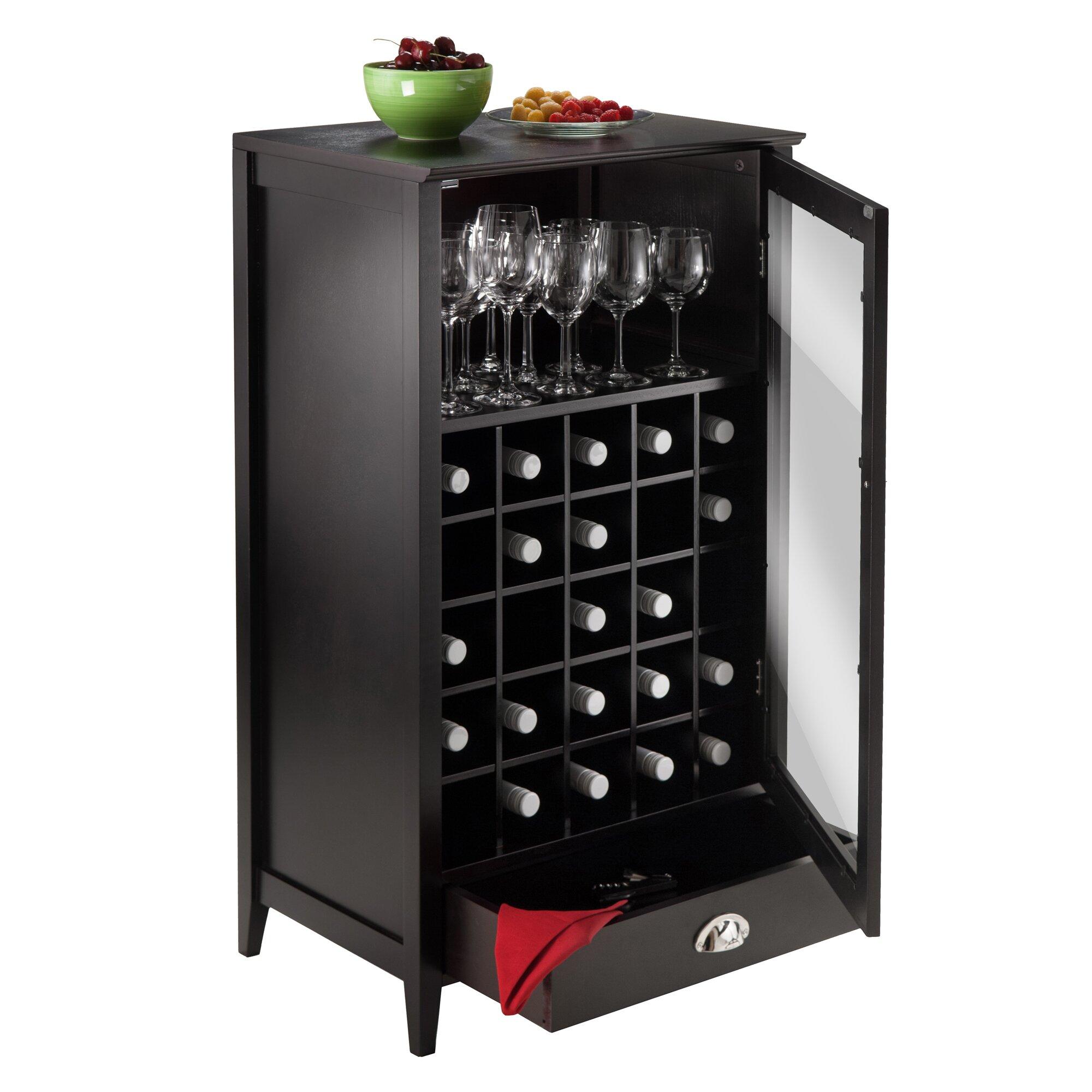 Winsome bordeaux 25 bottle floor wine cabinet reviews for Wine bottle christmas tree frame for sale