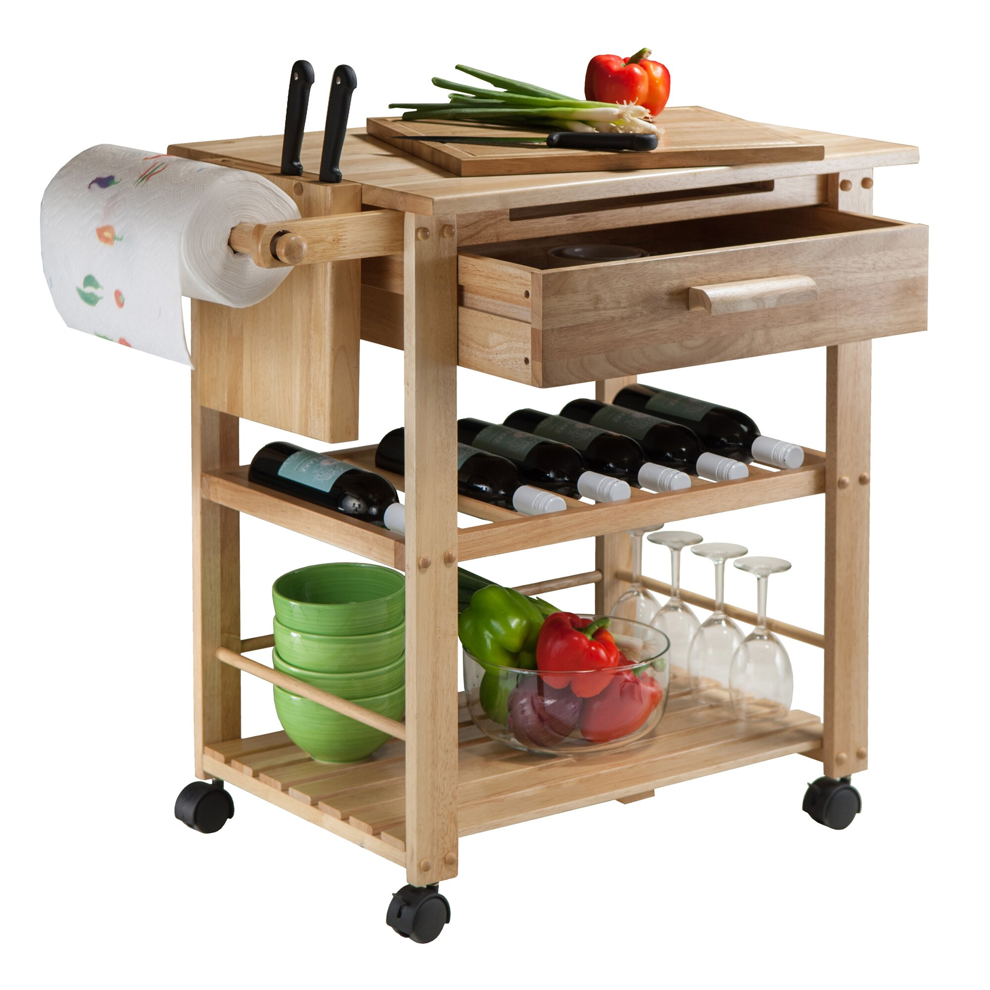 Winsome Finland Kitchen Cart With Wooden Top Reviews Wayfair