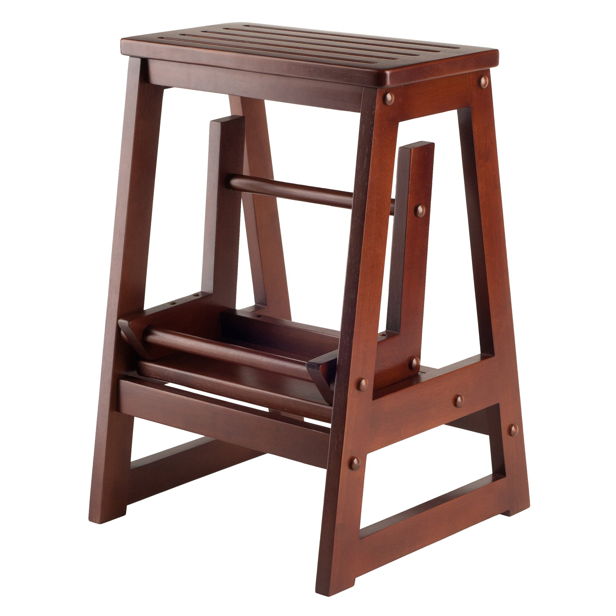 Winsome 2 Step Wood Step Stool With 200 Lb Load Capacity