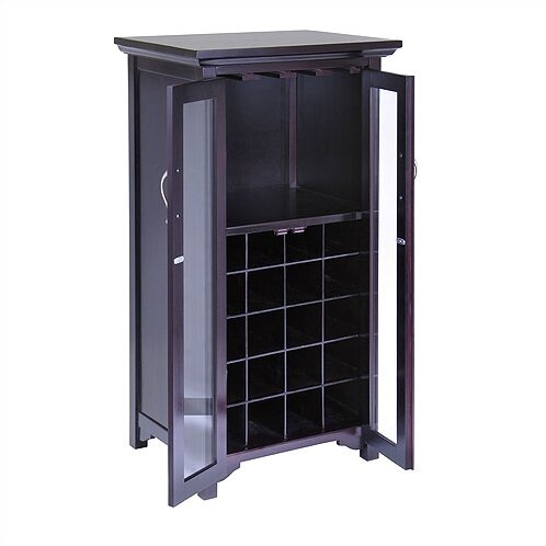 Winsome espresso bar cabinet reviews wayfair for 16 bottle wine cabinet with glass door espresso