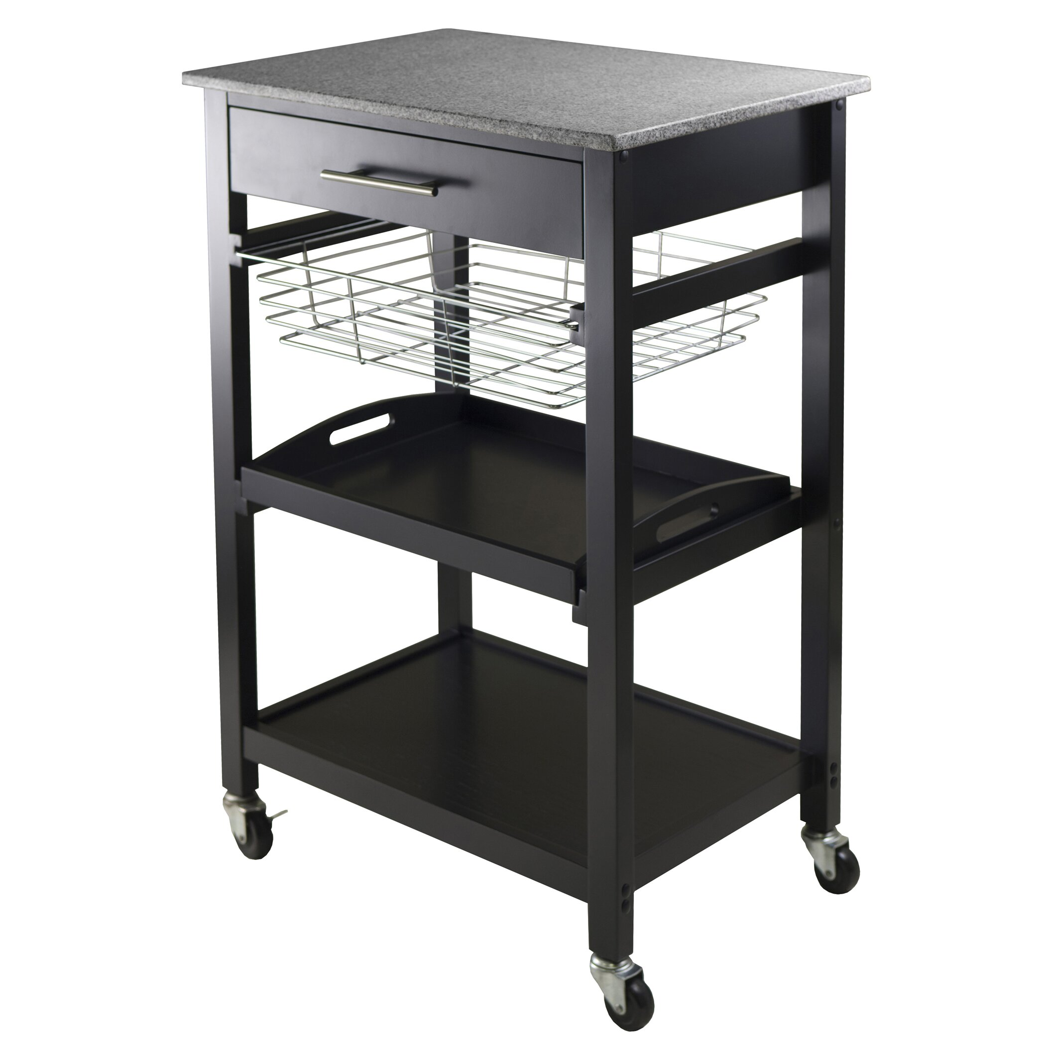 Winsome Julia Kitchen Cart With Granite Top Reviews Wayfair
