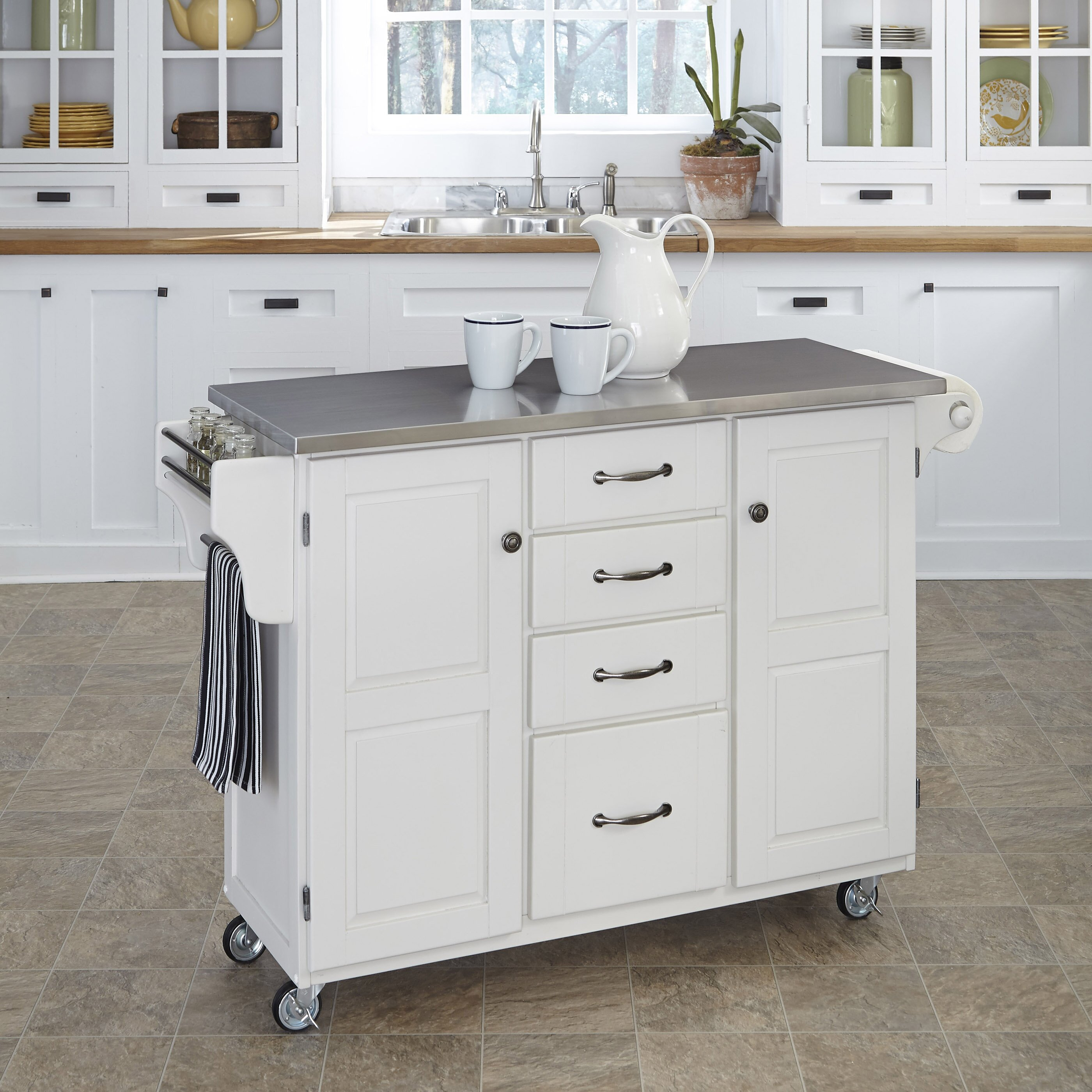 kitchen island stainless steel top home styles create a cart kitchen island with stainless steel top reviews wayfair 2972