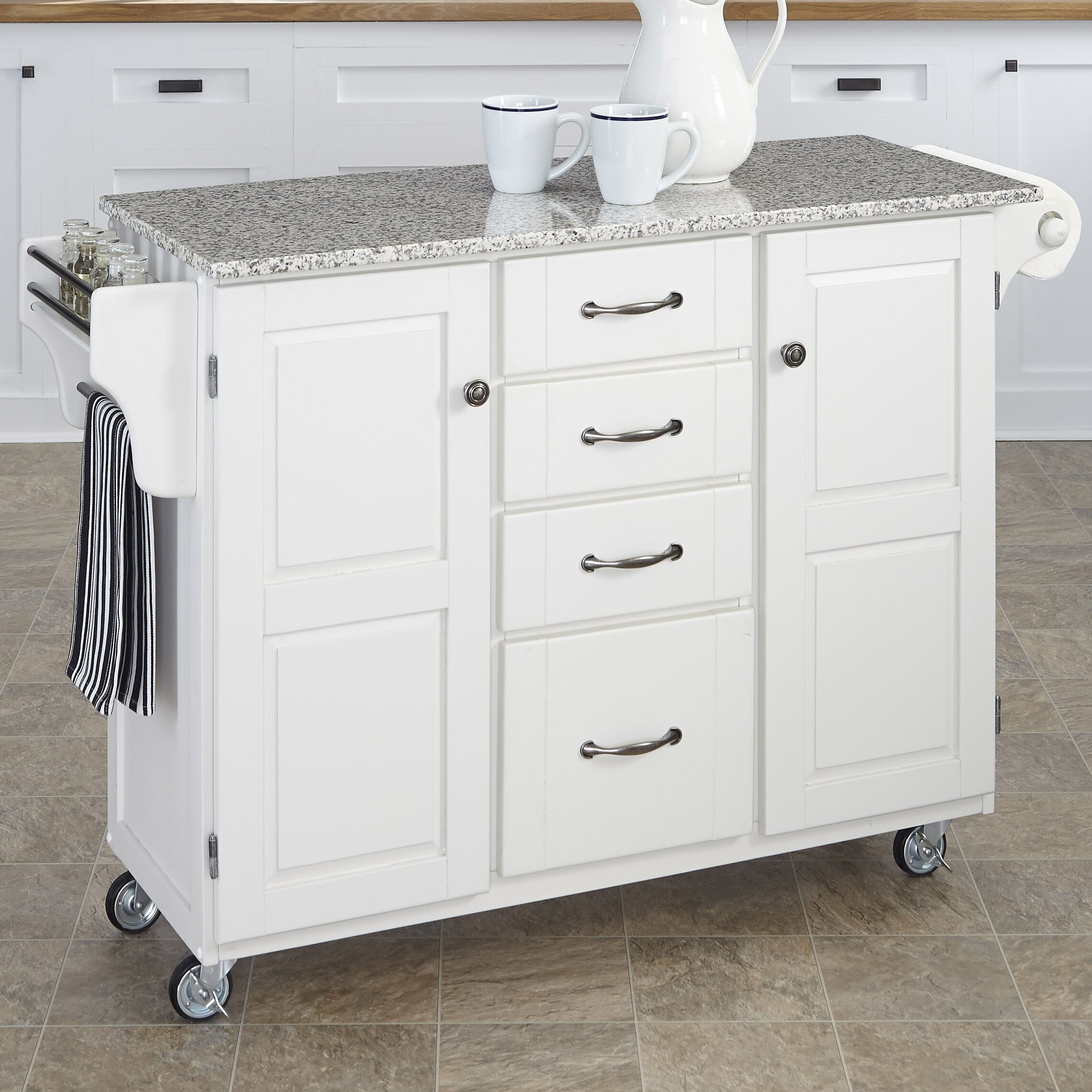 Home styles create a cart kitchen island with granite top Kitchen carts and islands
