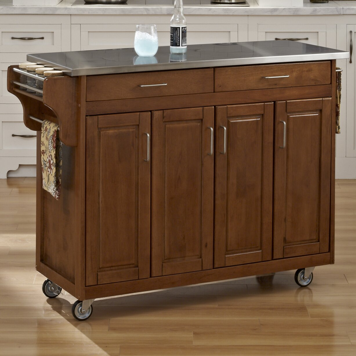 home styles create a cart kitchen island with stainless home styles create a cart kitchen island with stainless
