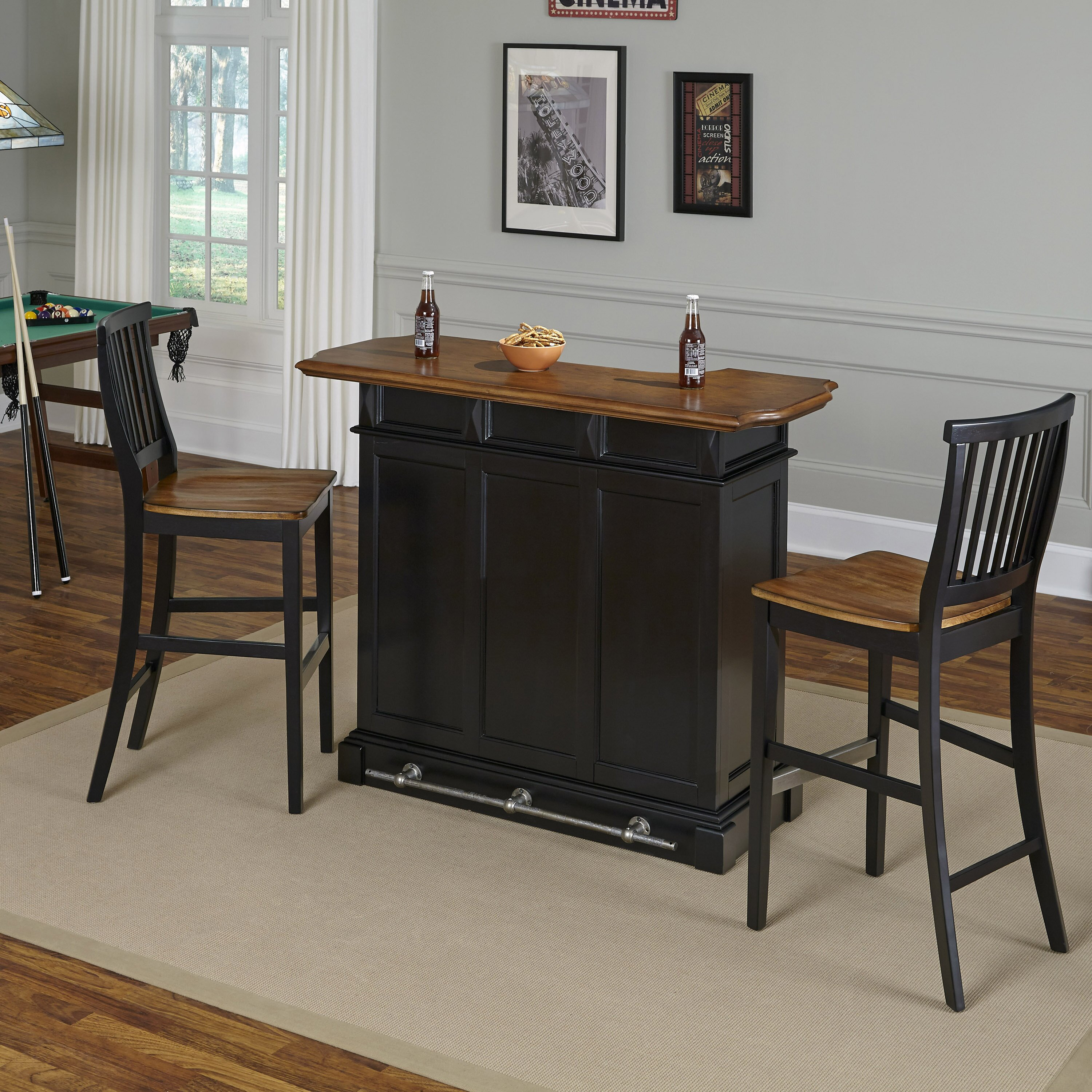 home styles americana home bar set reviews wayfair. Black Bedroom Furniture Sets. Home Design Ideas