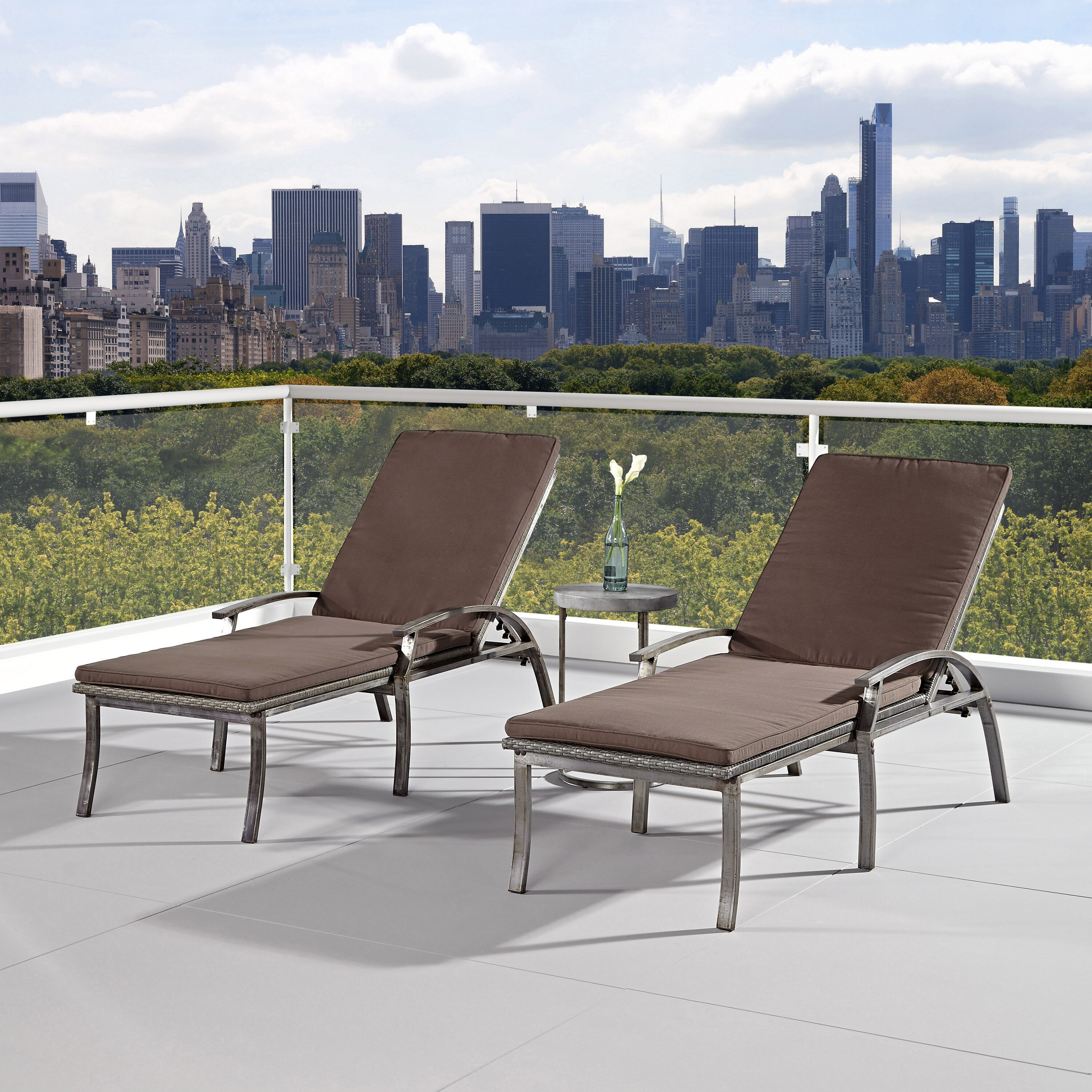 Outdoor chaise outdoor chaise lounge chair cushions living rooms - Home Styles Urban Chaise Lounge With Cushions Wayfair