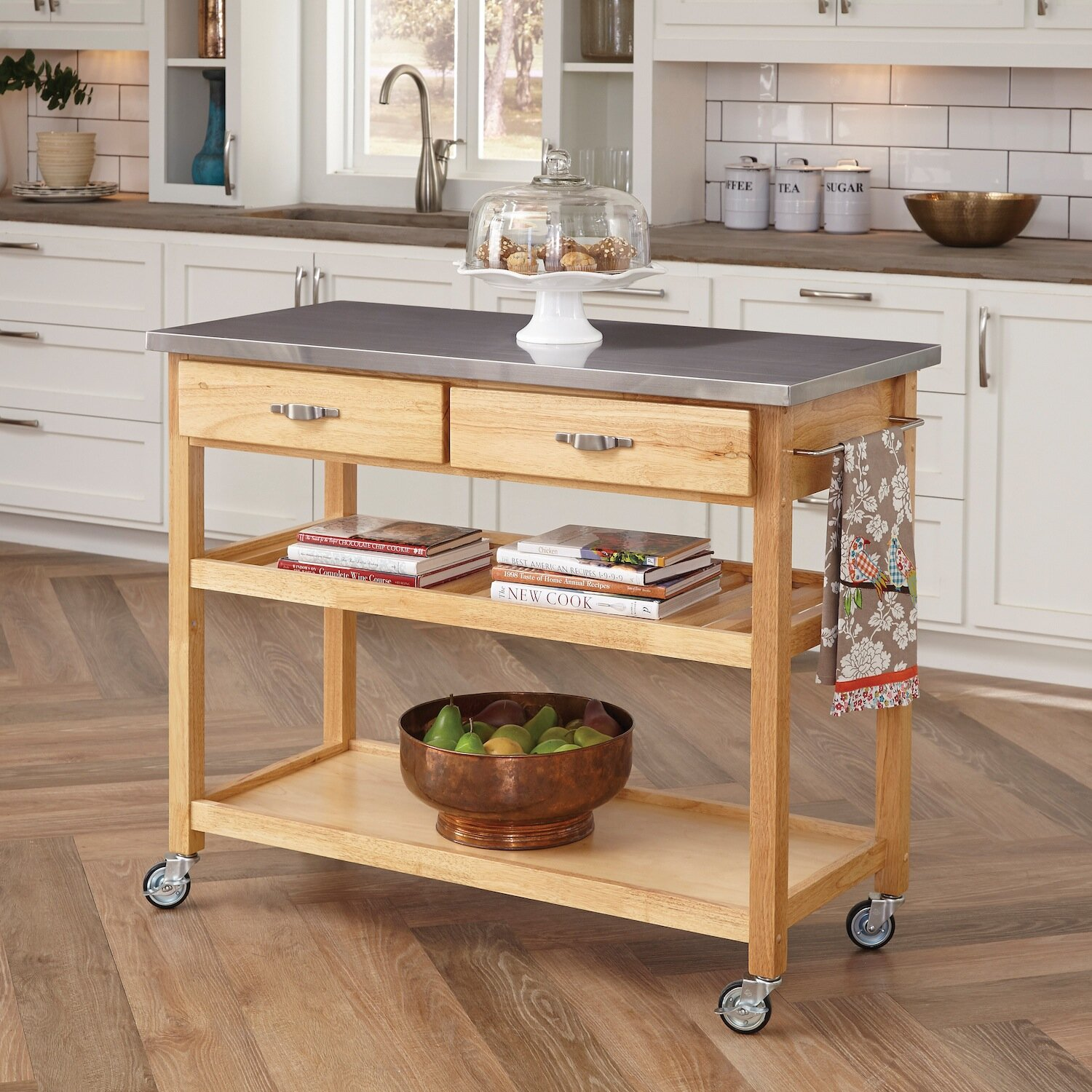 Home styles kitchen island with stainless steel top for Easy entry cart plans
