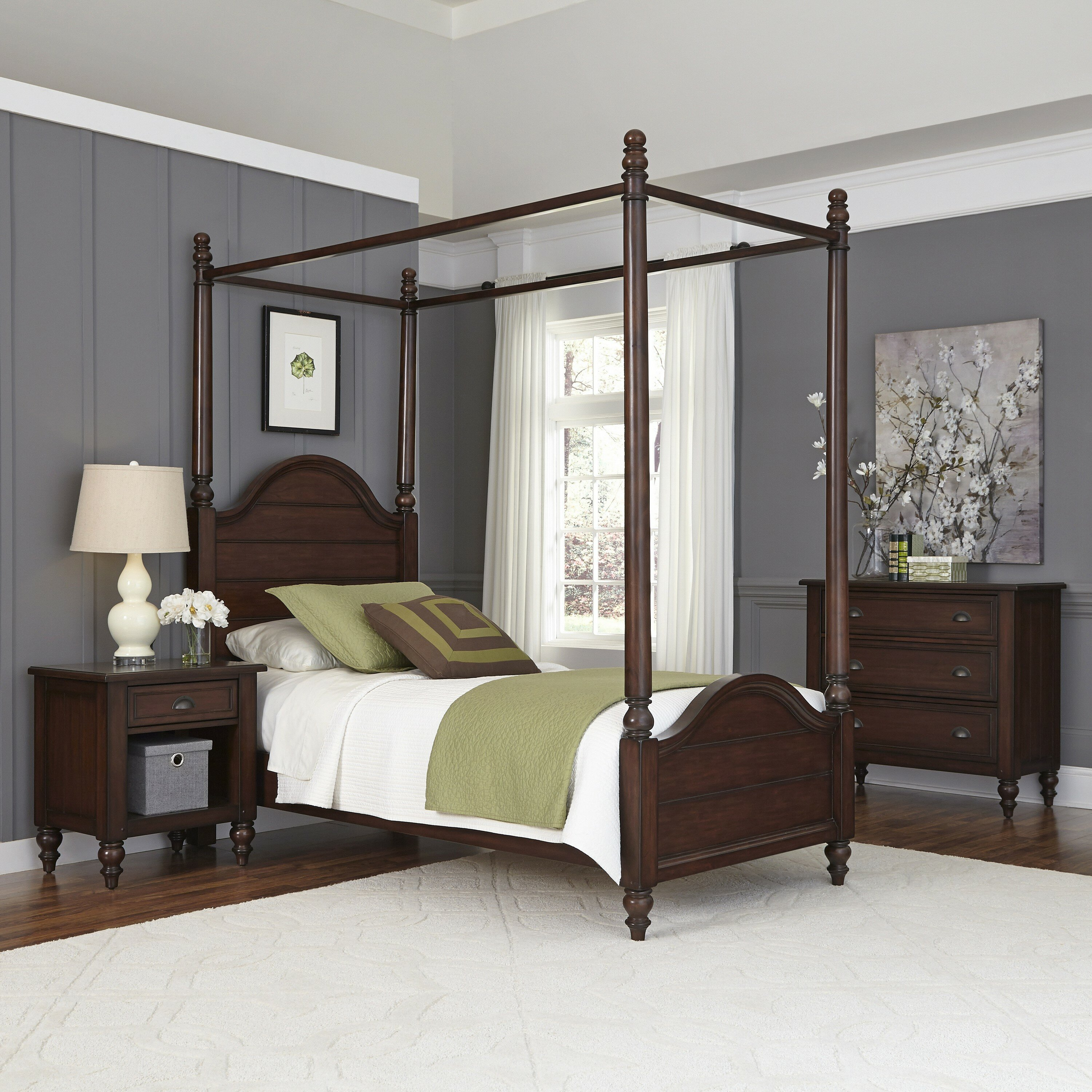 Country Bedroom Sets: Home Styles Country Comfort Canopy 3 Piece Bedroom Set