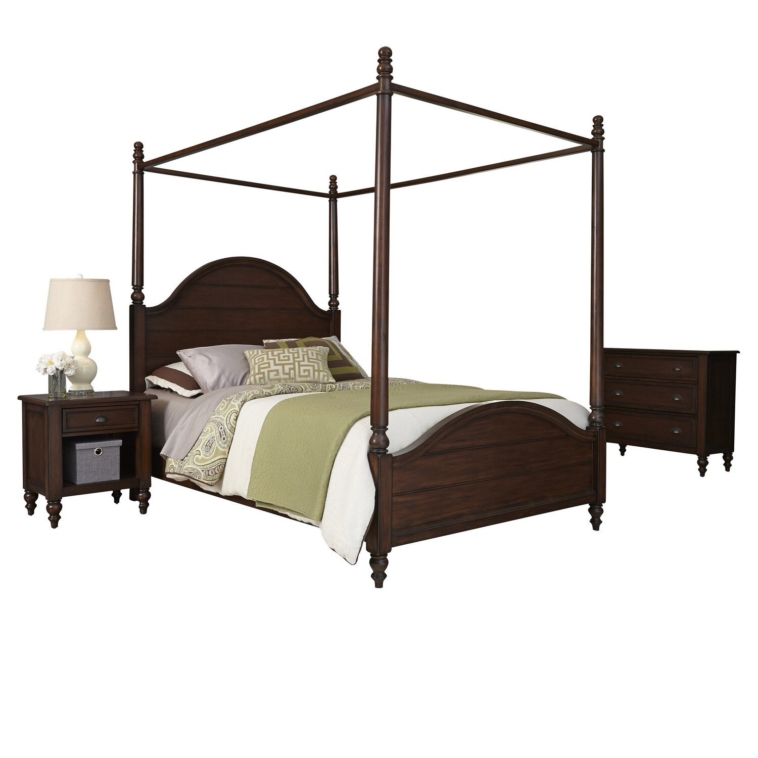 Home styles country comfort canopy 3 piece bedroom set for Home styles bedroom furniture