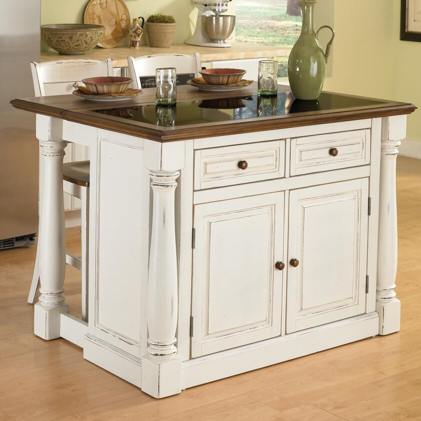 kitchen island set august grove shyanne kitchen island set with granite top reviews wayfair 3614