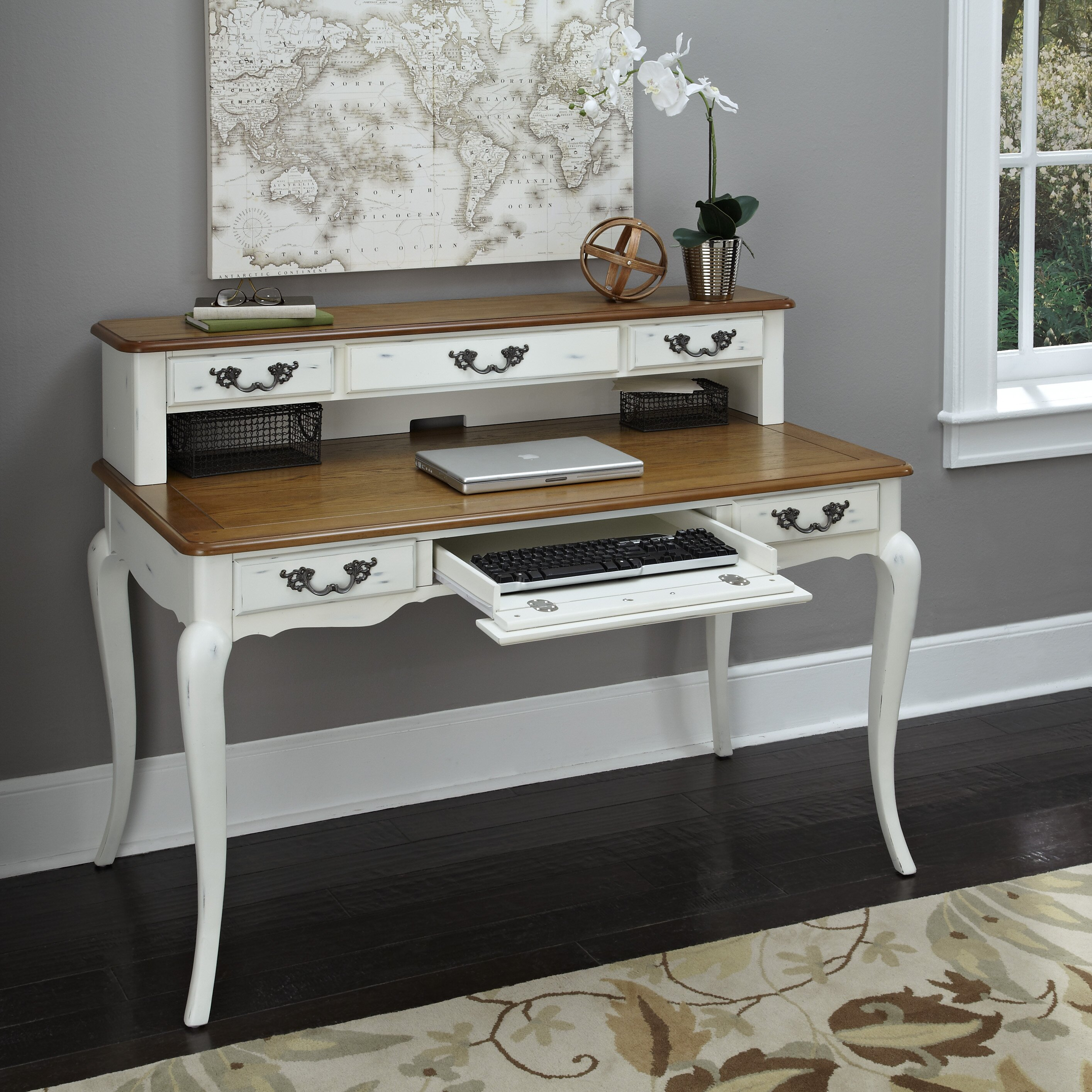 Home Styles French Countryside Computer Desk With Keyboard