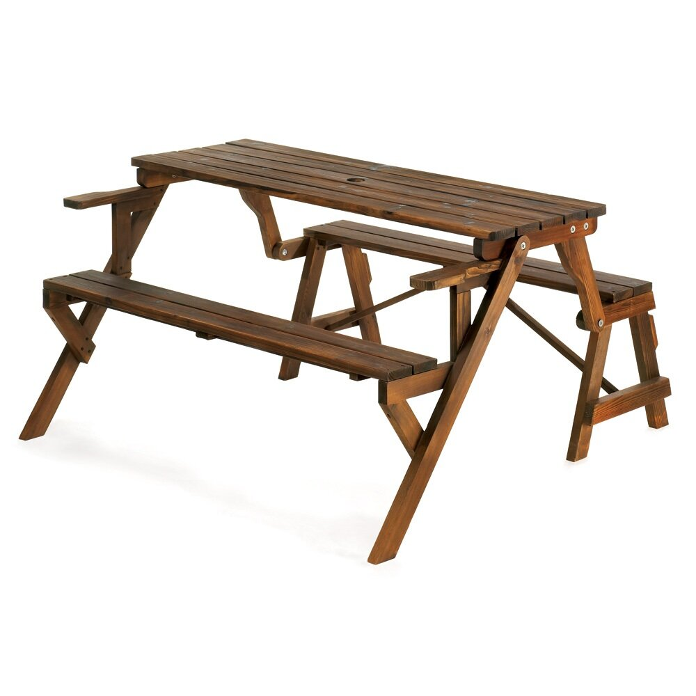 Zingz Thingz Transforming Wood Garden Bench And Picnic Table Reviews Wayfair