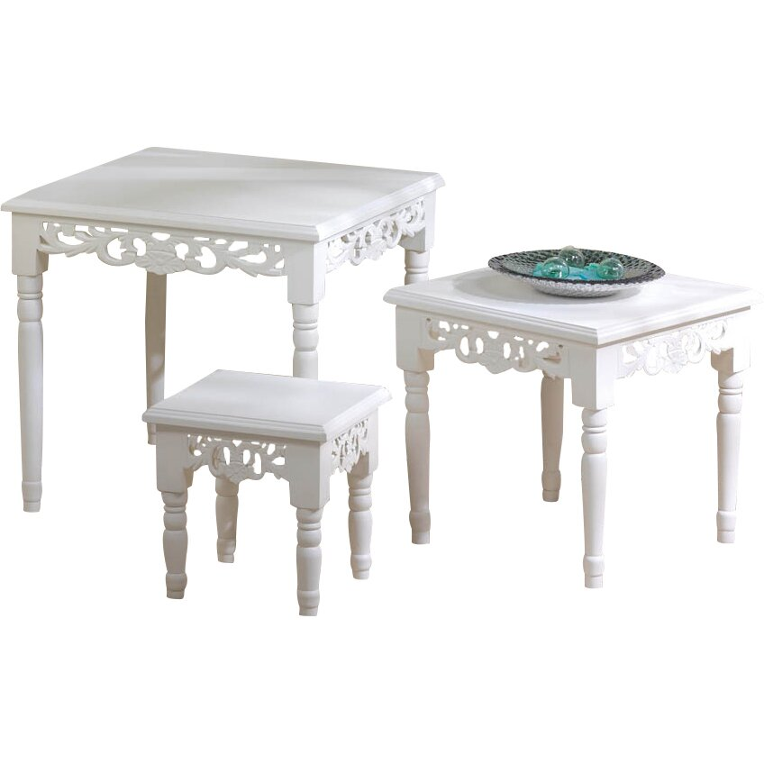 Zingz Thingz Cottage Chic 3 Piece Nesting Accent Tables Reviews Wayfair