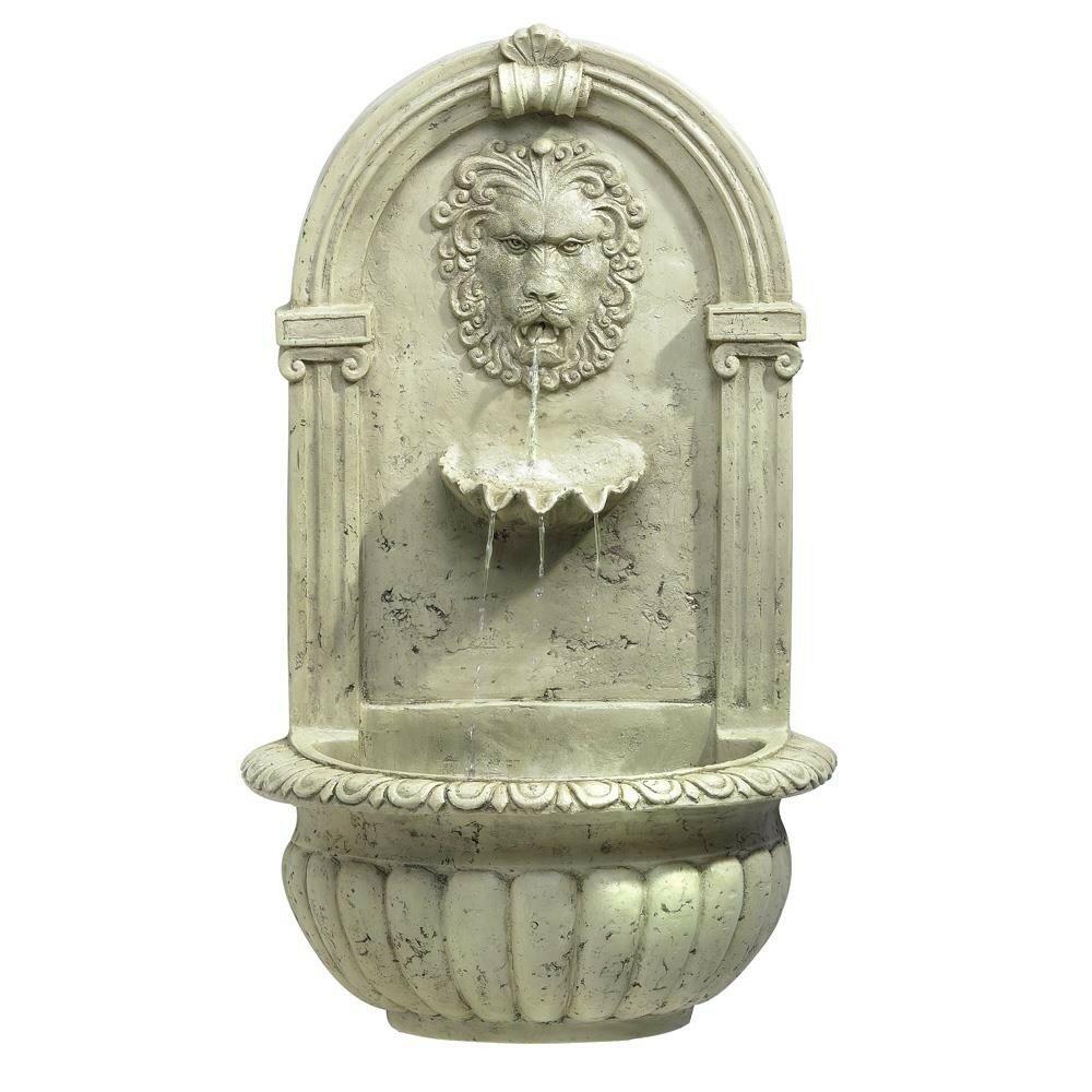 Zingz thingz regal lion fiberglass wall fountain for Outdoor wall fountains