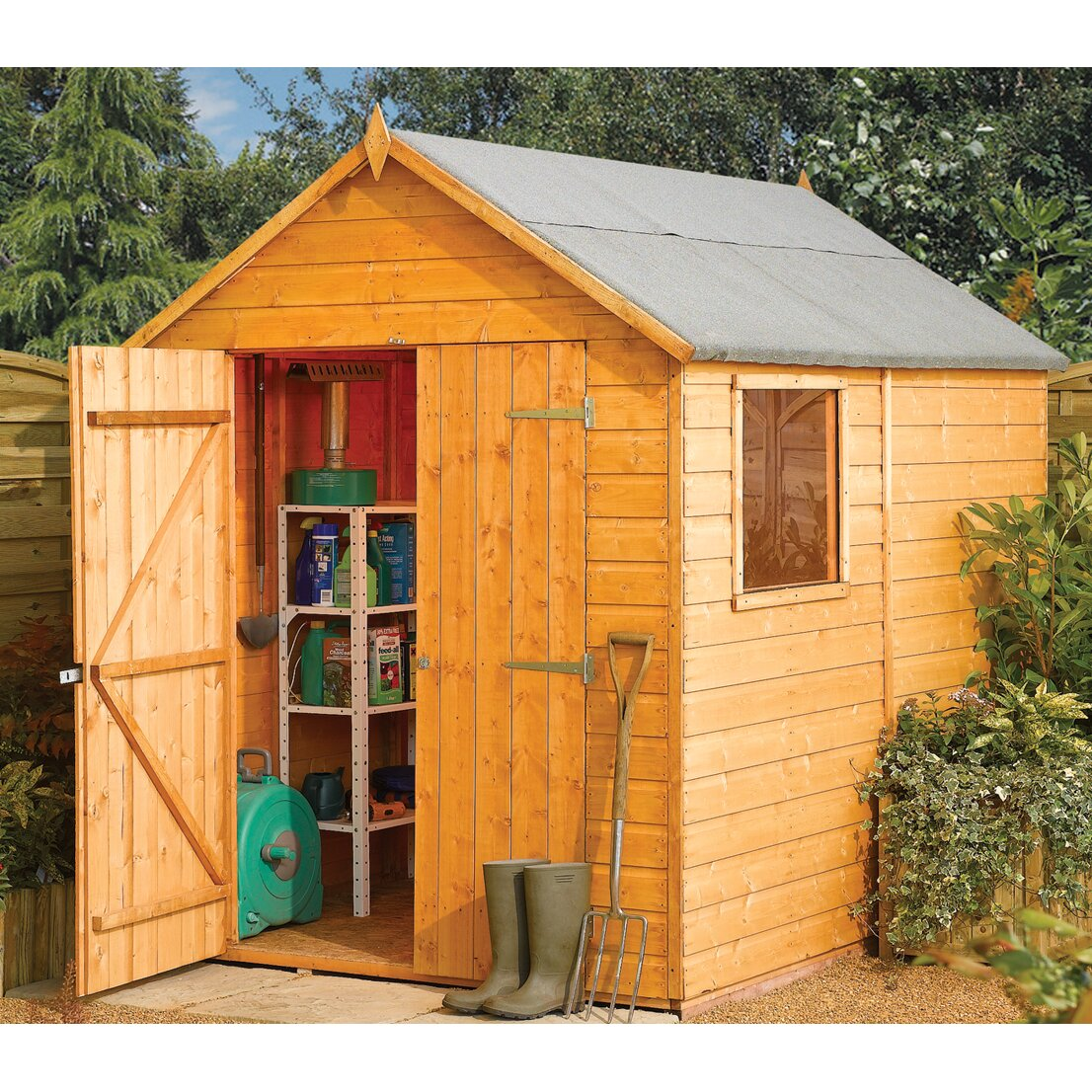 Rowlinson 6 x 8 wooden storage shed wayfair uk for Wooden garden storage shed