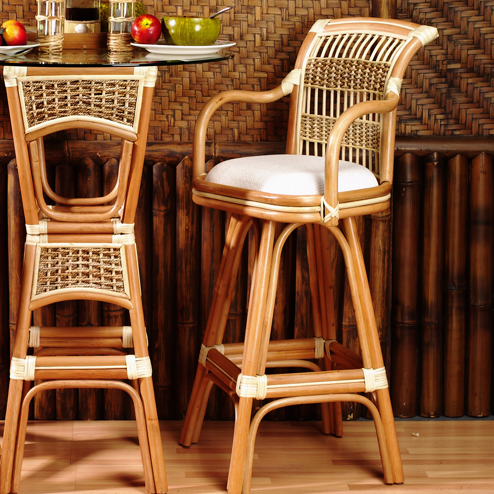 wicker rattan bar stools you ll love wayfair