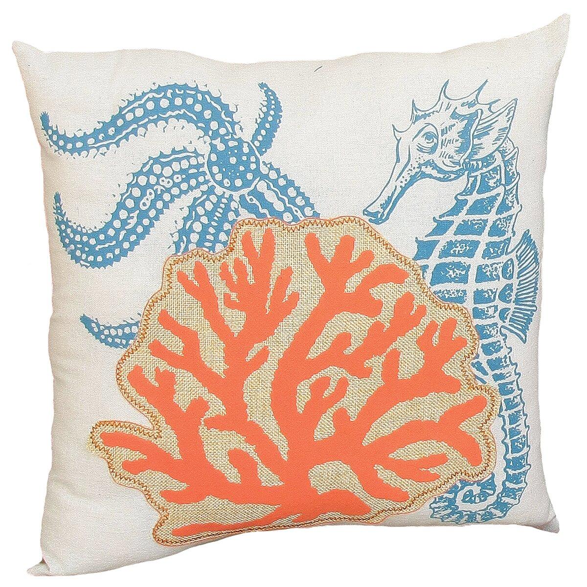 Xia Home Fashions Coastal Applique Sea Life and Coral Decorative Throw Pillow & Reviews Wayfair