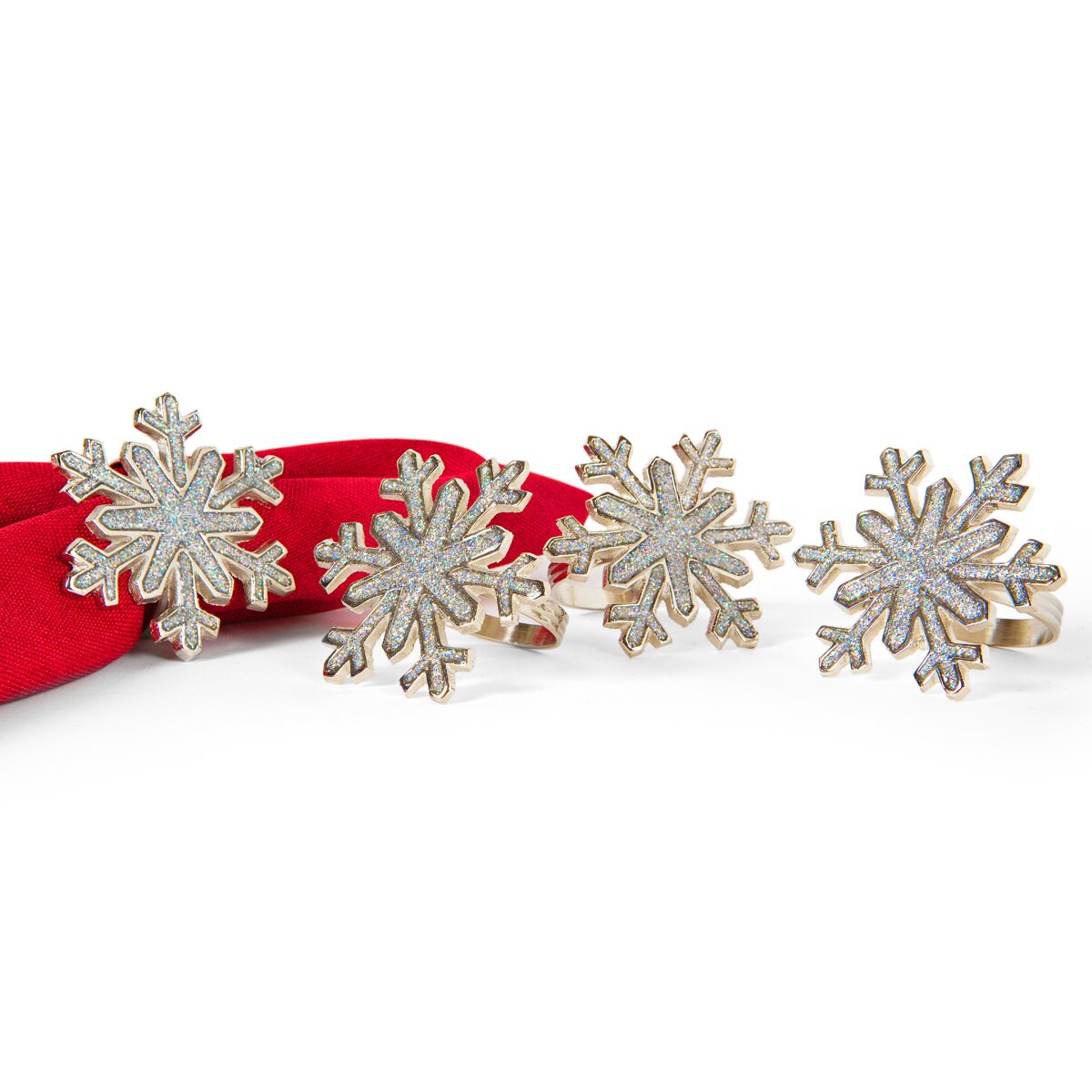 Manor luxe shimmer snowflake holiday metal napkin ring