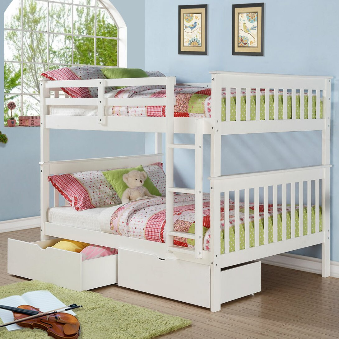 Donco kids mission full over full bunk bed with storage for Full over full bunk beds