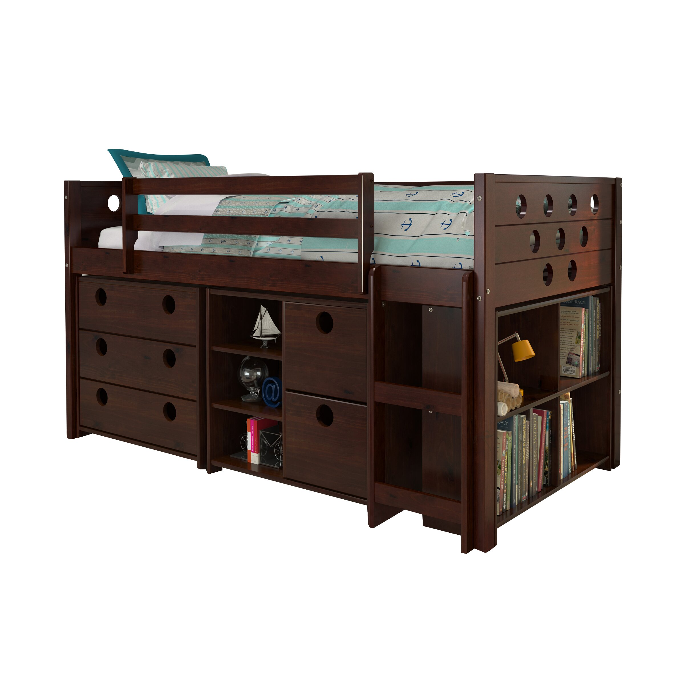 Donco Kids Circles Twin Loft Bed With Storage Reviews