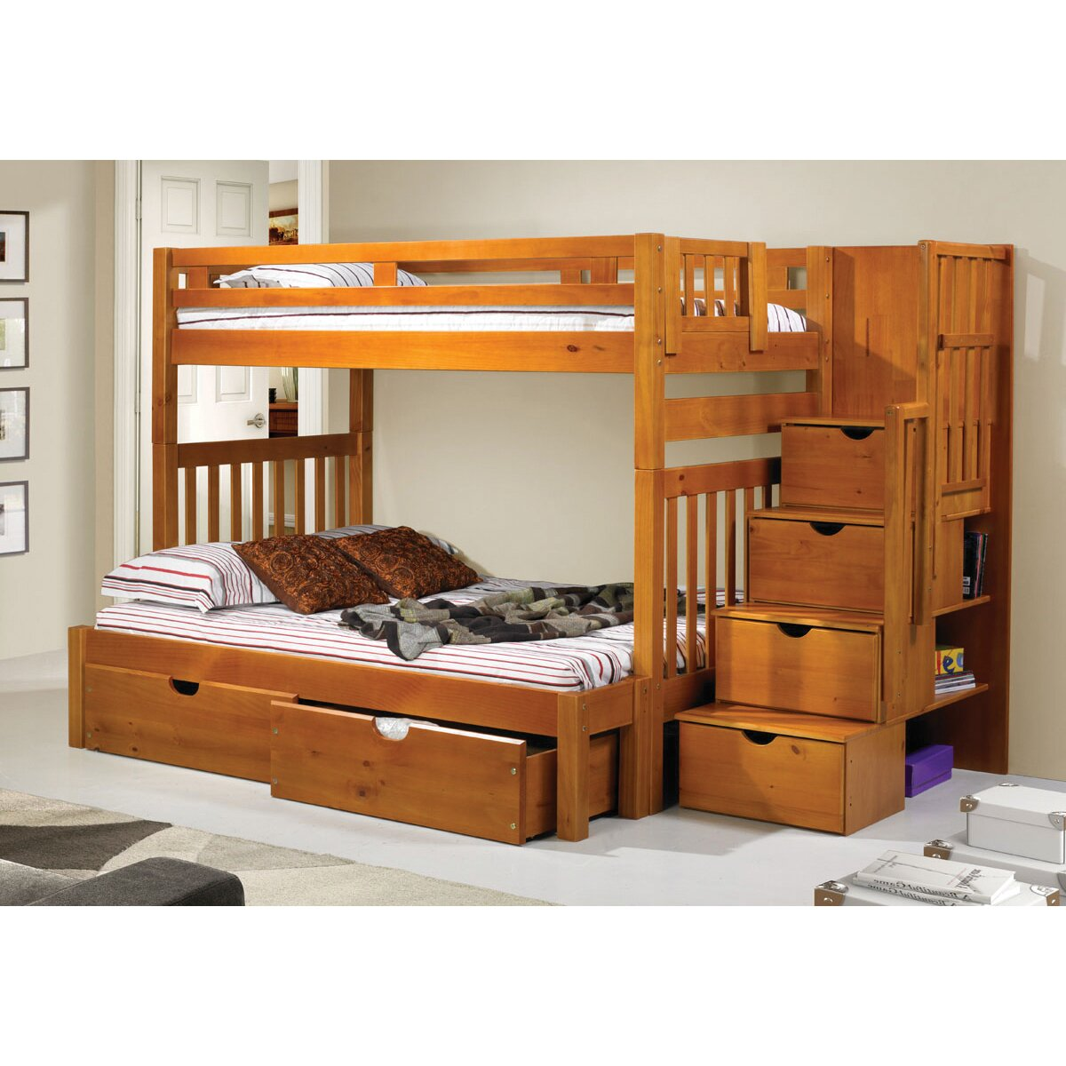 Donco kids stairway loft bunk bed with storage drawers wayfair - Bunkbeds with drawers ...