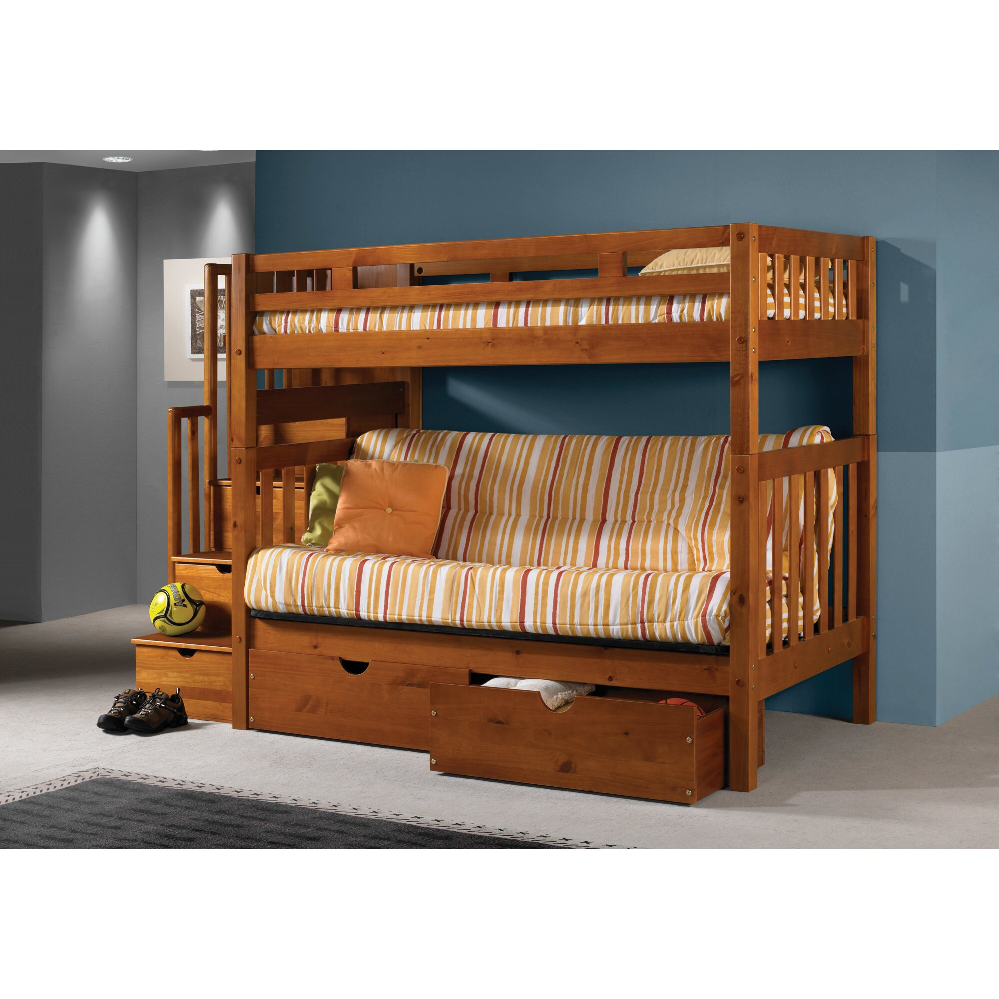 Donco kids stairway loft bunk bed with storage drawers for Wooden bunkbeds