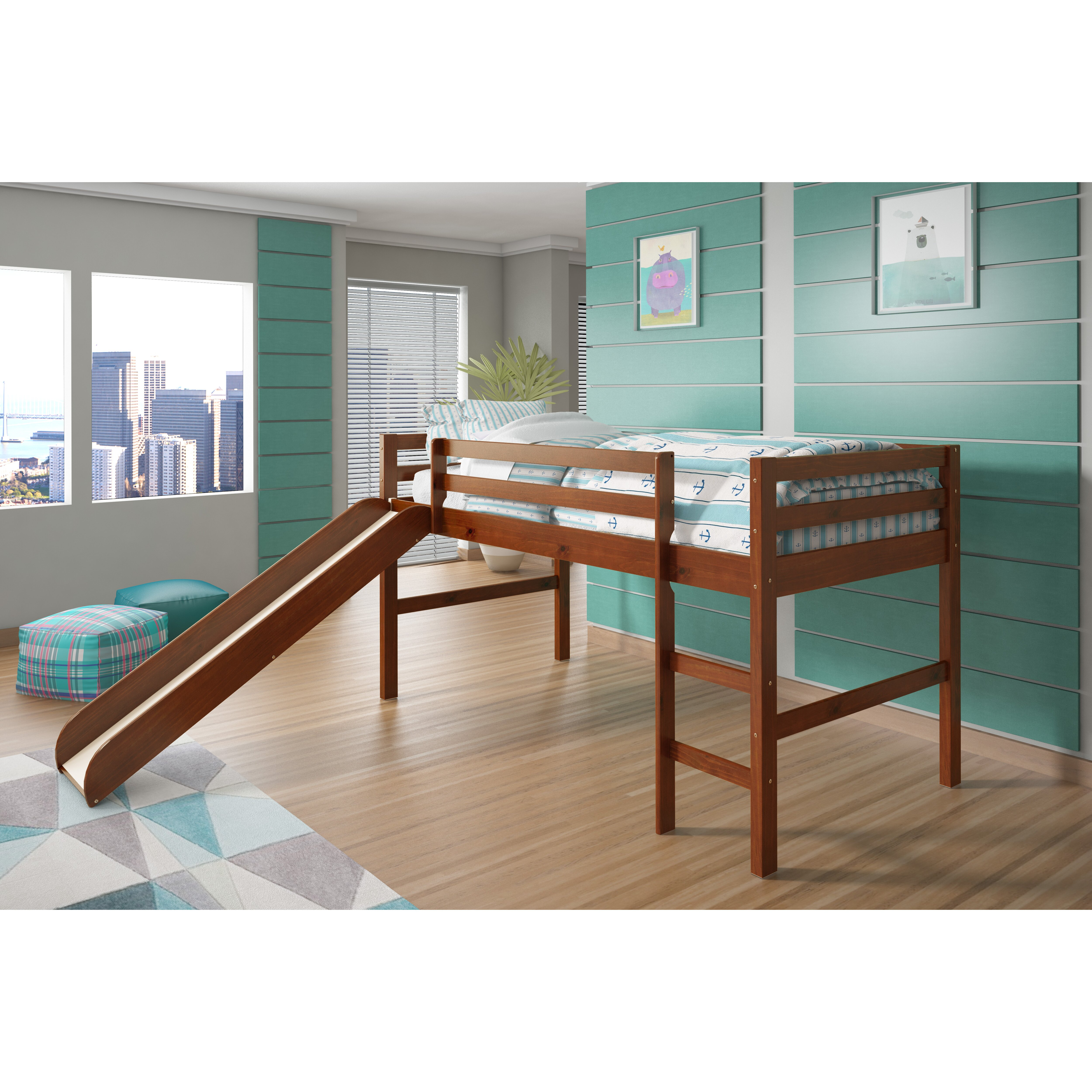 donco kids twin low loft bed reviews wayfair. Black Bedroom Furniture Sets. Home Design Ideas