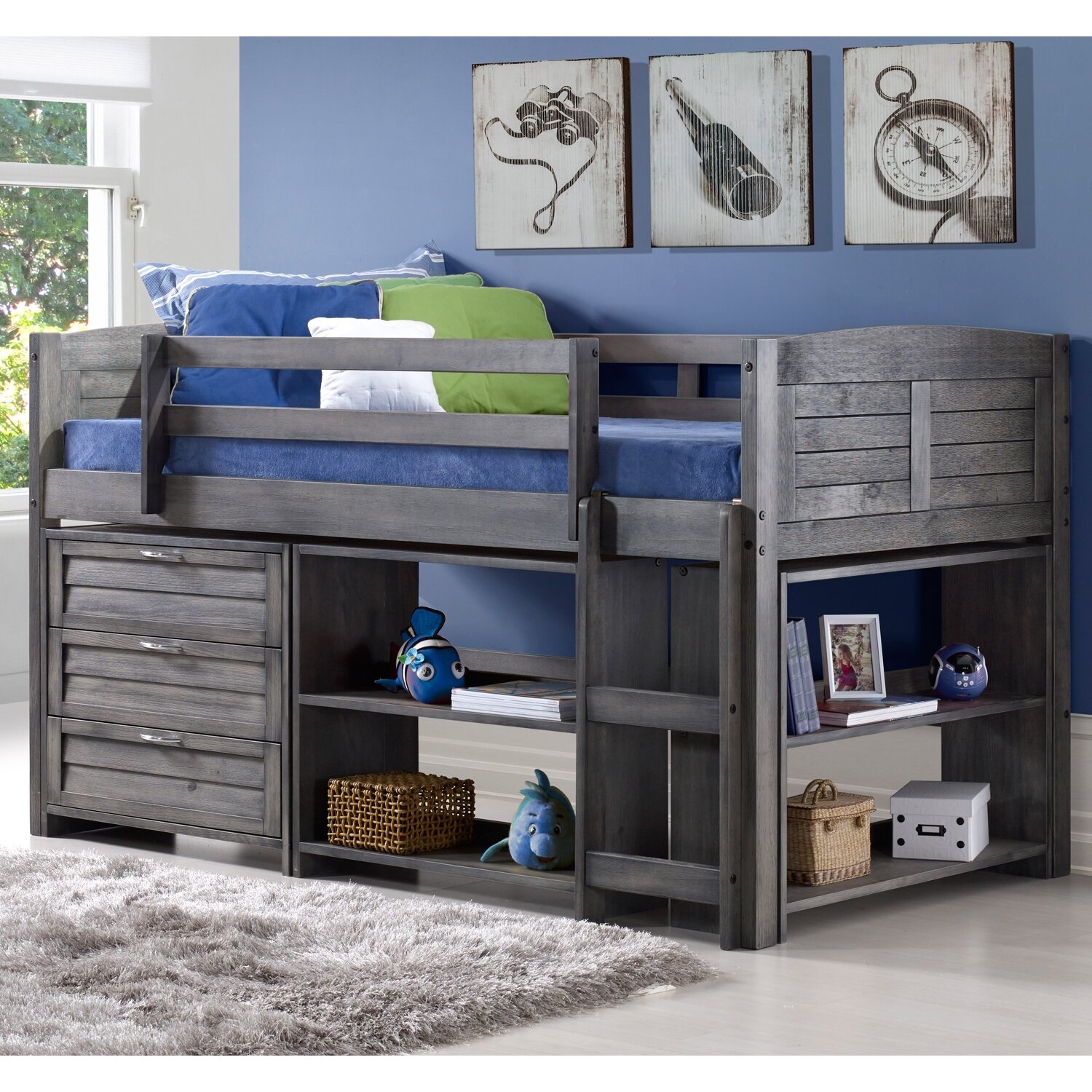 Donco Kids Louver Twin Low Loft Bed with Storage