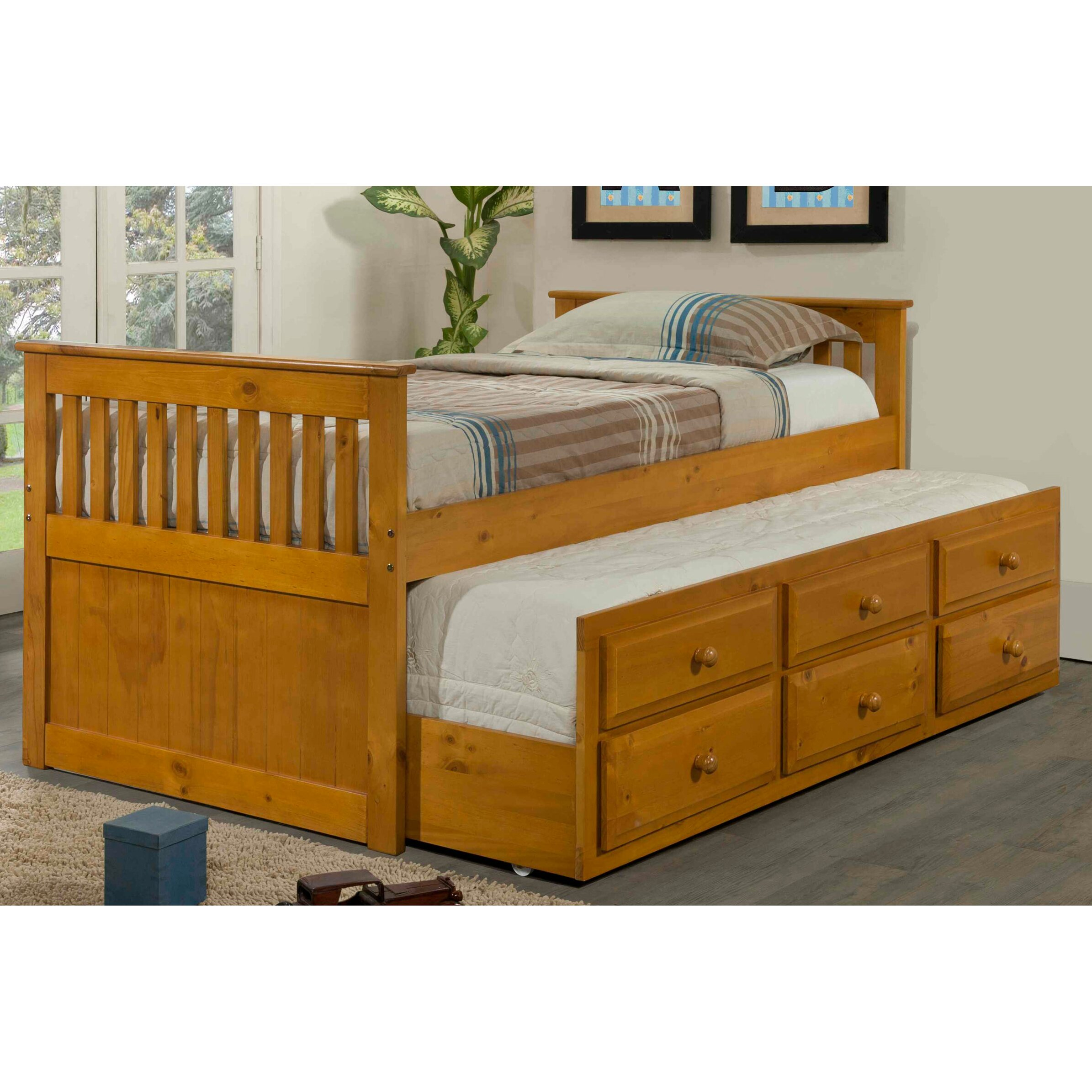 Donco kids captain bed with trundle reviews wayfair for Beds with trundle