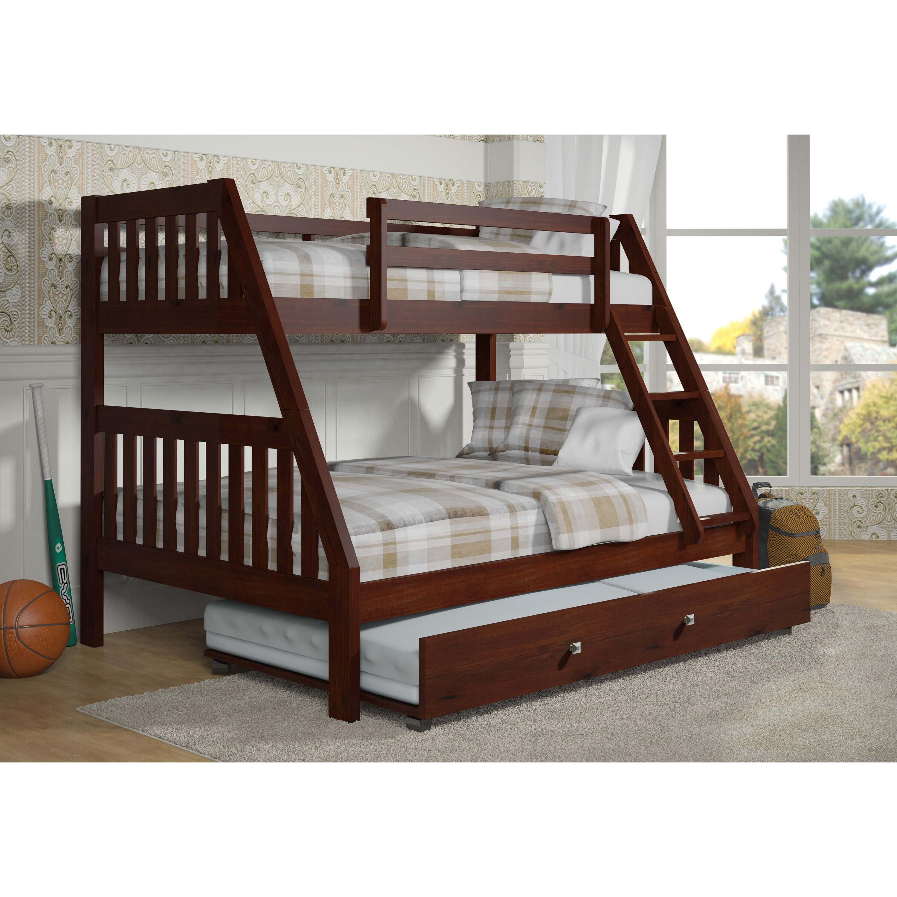 Donco kids washington twin over full bunk bed with trundle for Loft bed with trundle
