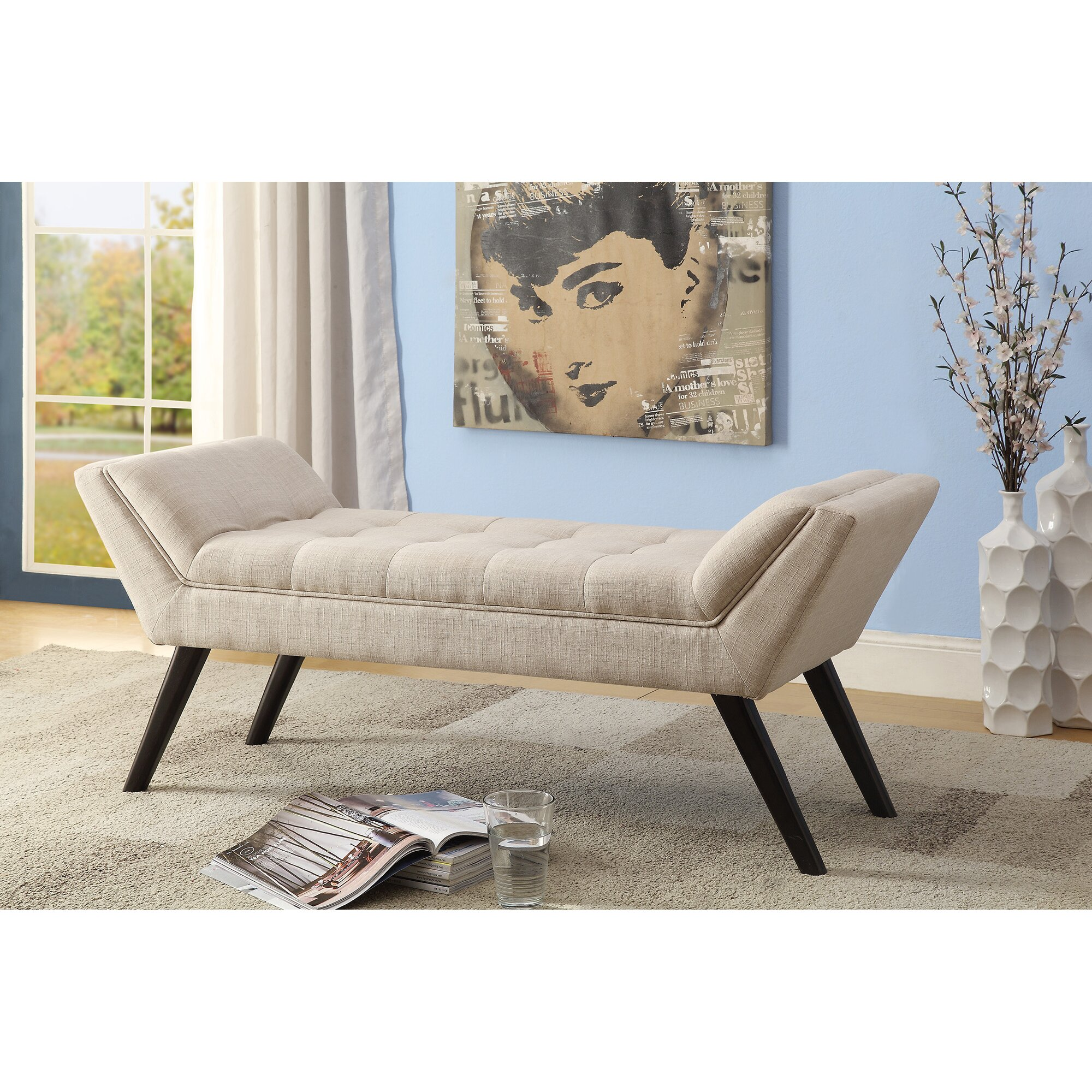 Upholstered Bench Beige: Wholesale Interiors Baxton Studio Upholstered Bedroom