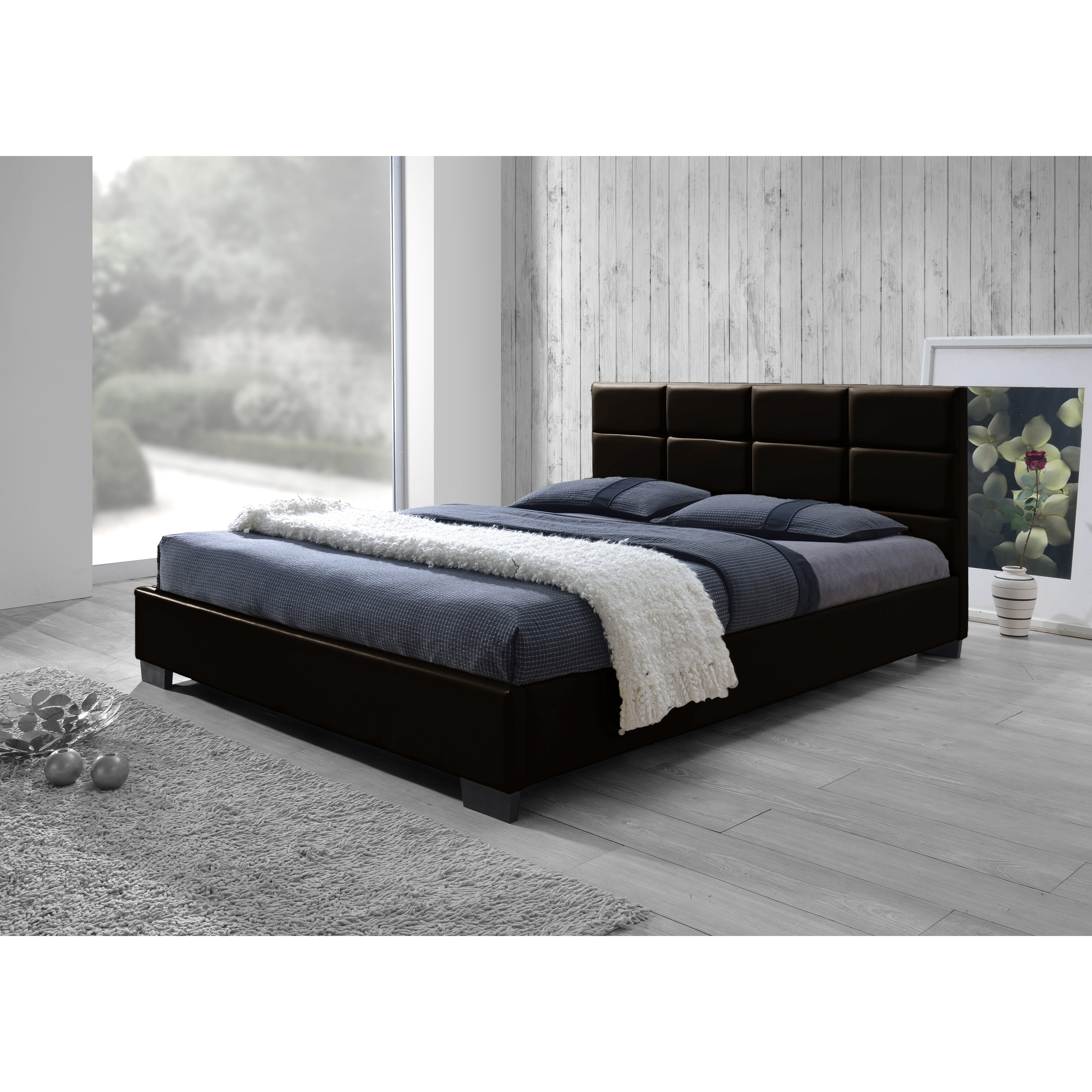 Wholesale interiors baxton studio queen upholstered for Padded bed frame