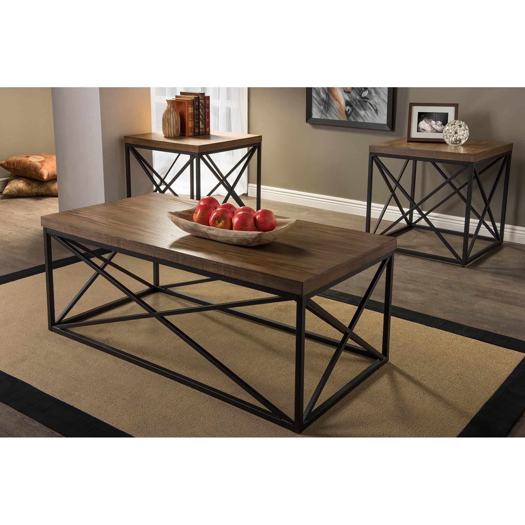 Wholesale interiors baxton studio 3 piece coffee table set for Baxton studio