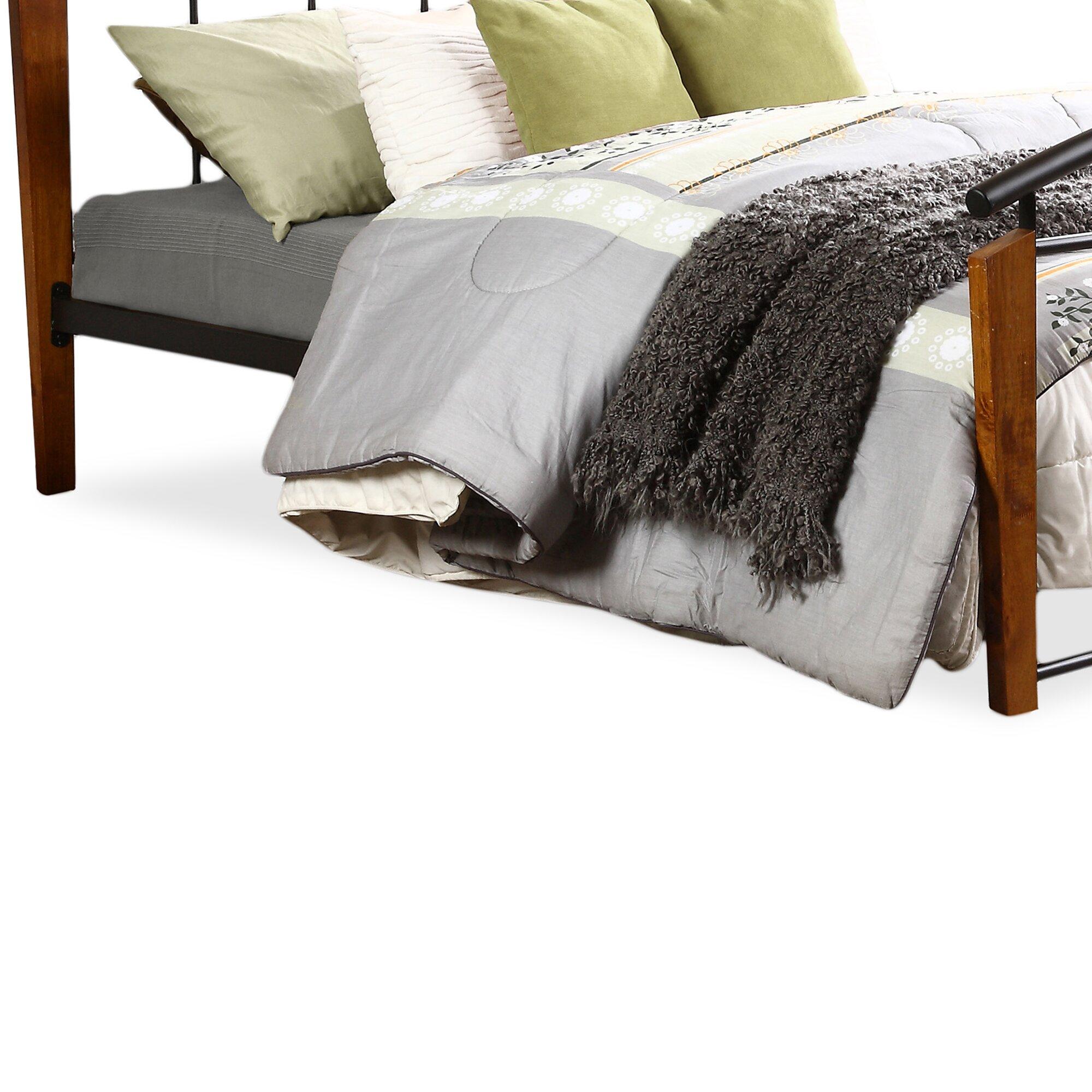 Optimus Metal And Dark Walnut Wood Queen Size Platform Bed