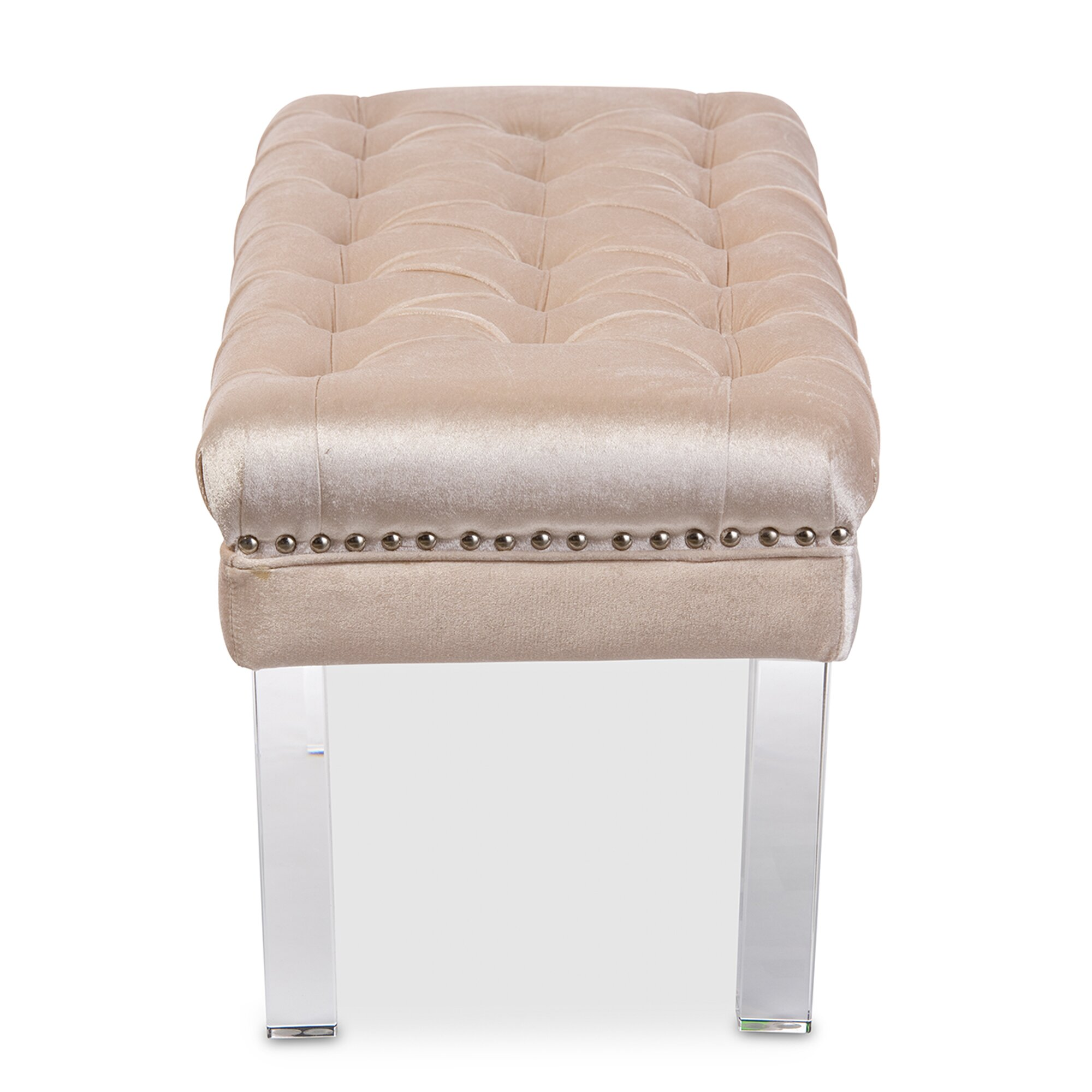 Upholstered Bench Beige: Wholesale Interiors Baxton Studio Upholstered Bench