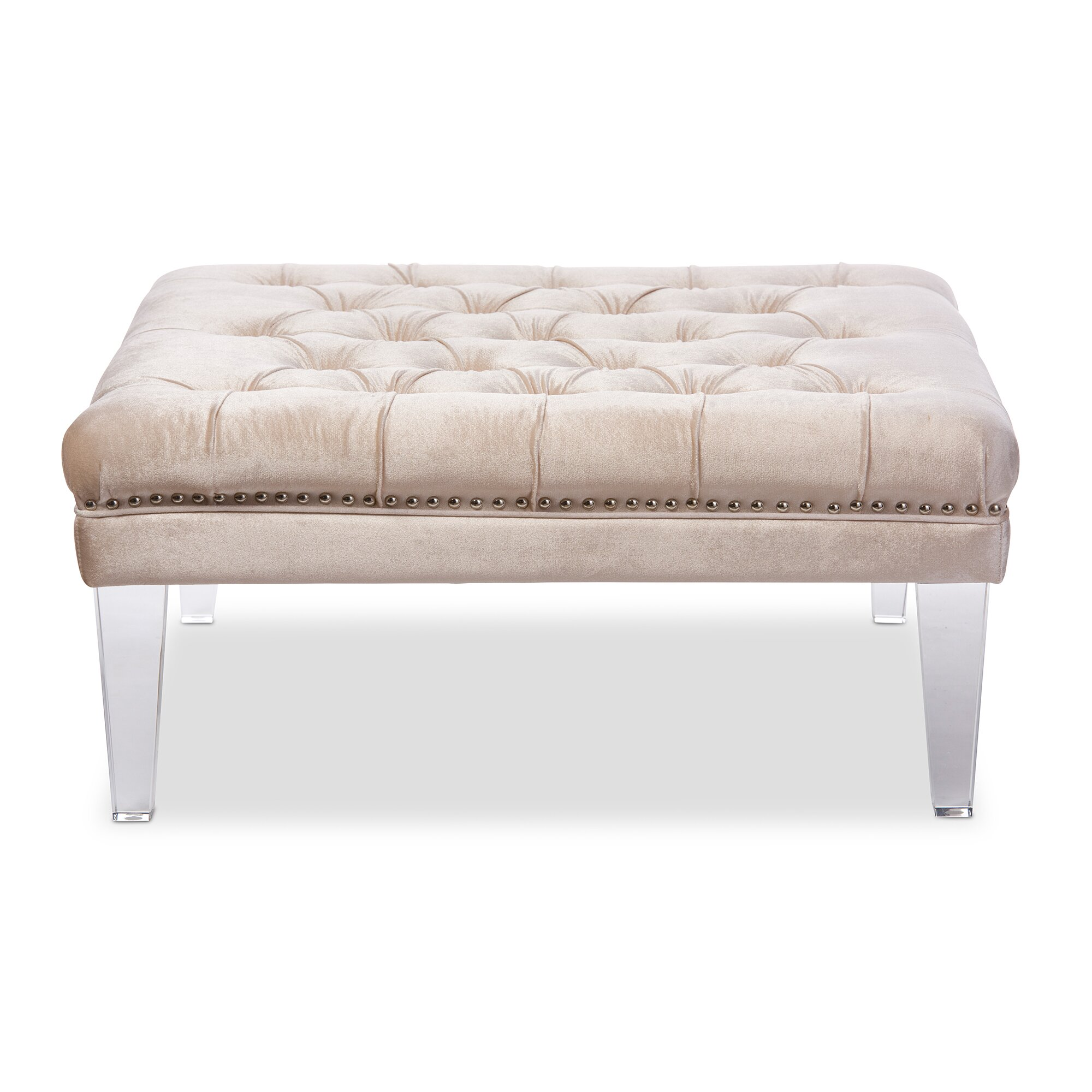 Upholstered Bench Beige: Wholesale Interiors Baxton Studio Edna Modern And