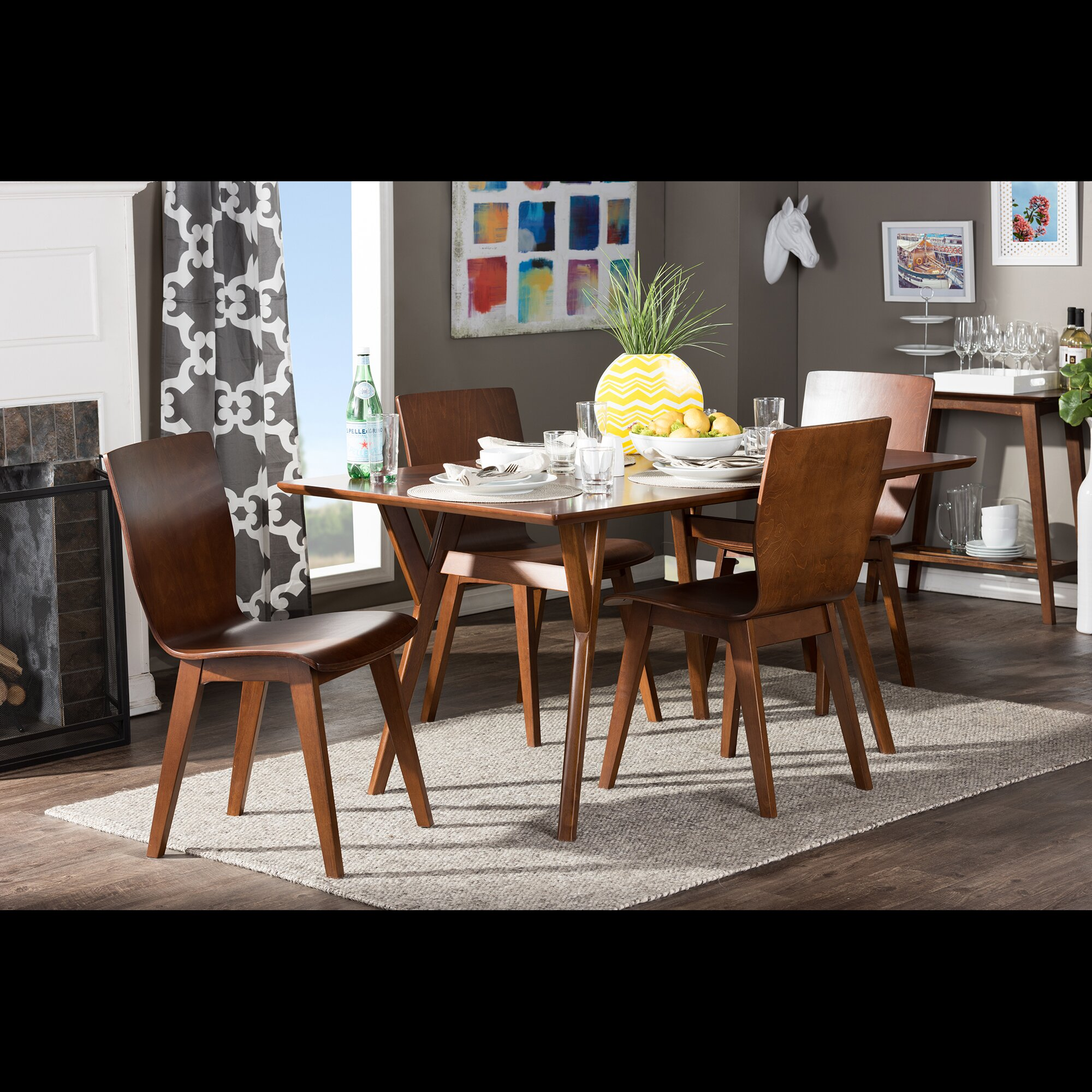Dark Wood Dining Sets: Wholesale Interiors Baxton Studio Elsa Dark Walnut Bent