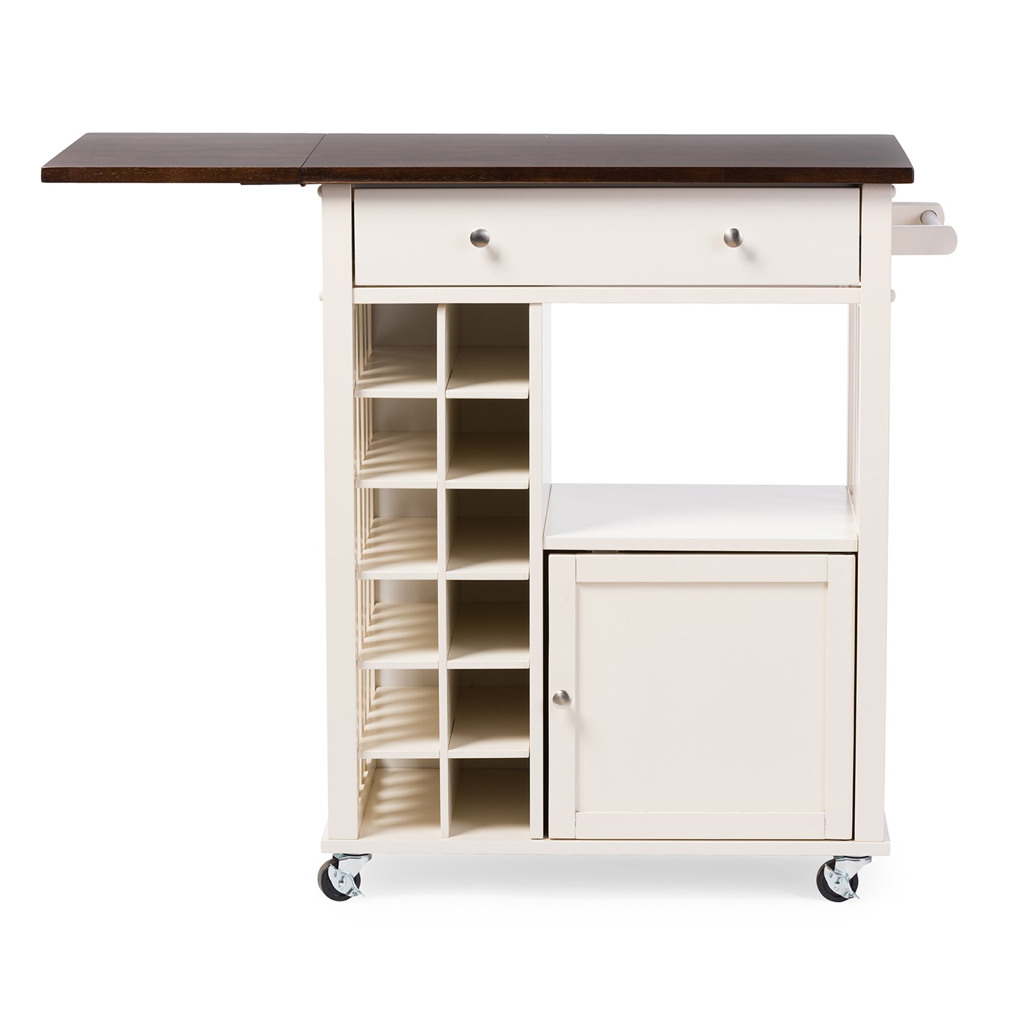 Wholesale Interiors Baxton Studio Justin Solid Wood Kitchen Cart with Dark Oa