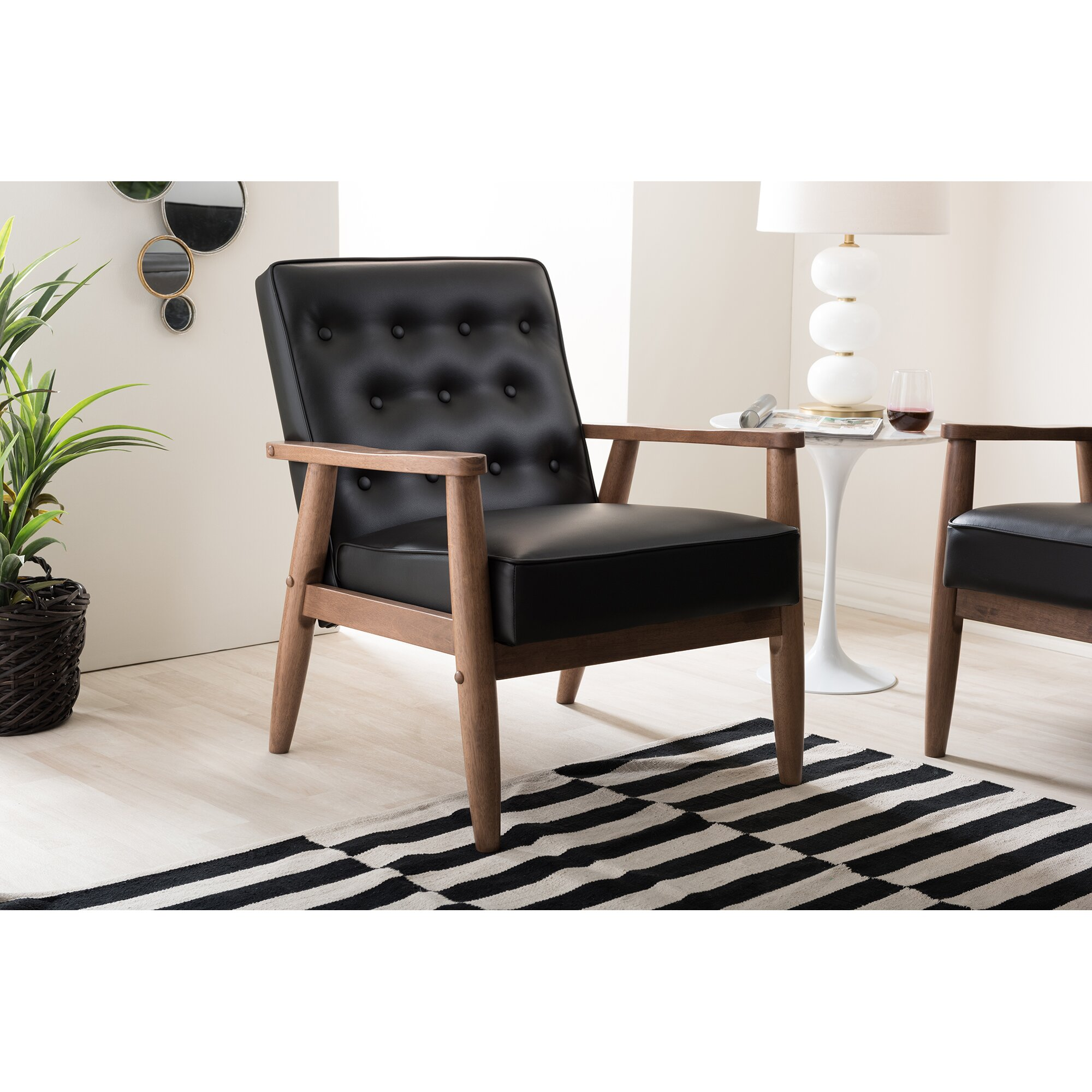 Wholesale Interiors Baxton Studio Lounge Chair amp Reviews  : Baxton Studio Sorrento Mid century Retro Modern Black Faux Leather Upholstered Wooden Lounge Chair from www.wayfair.com size 2000 x 2000 jpeg 515kB