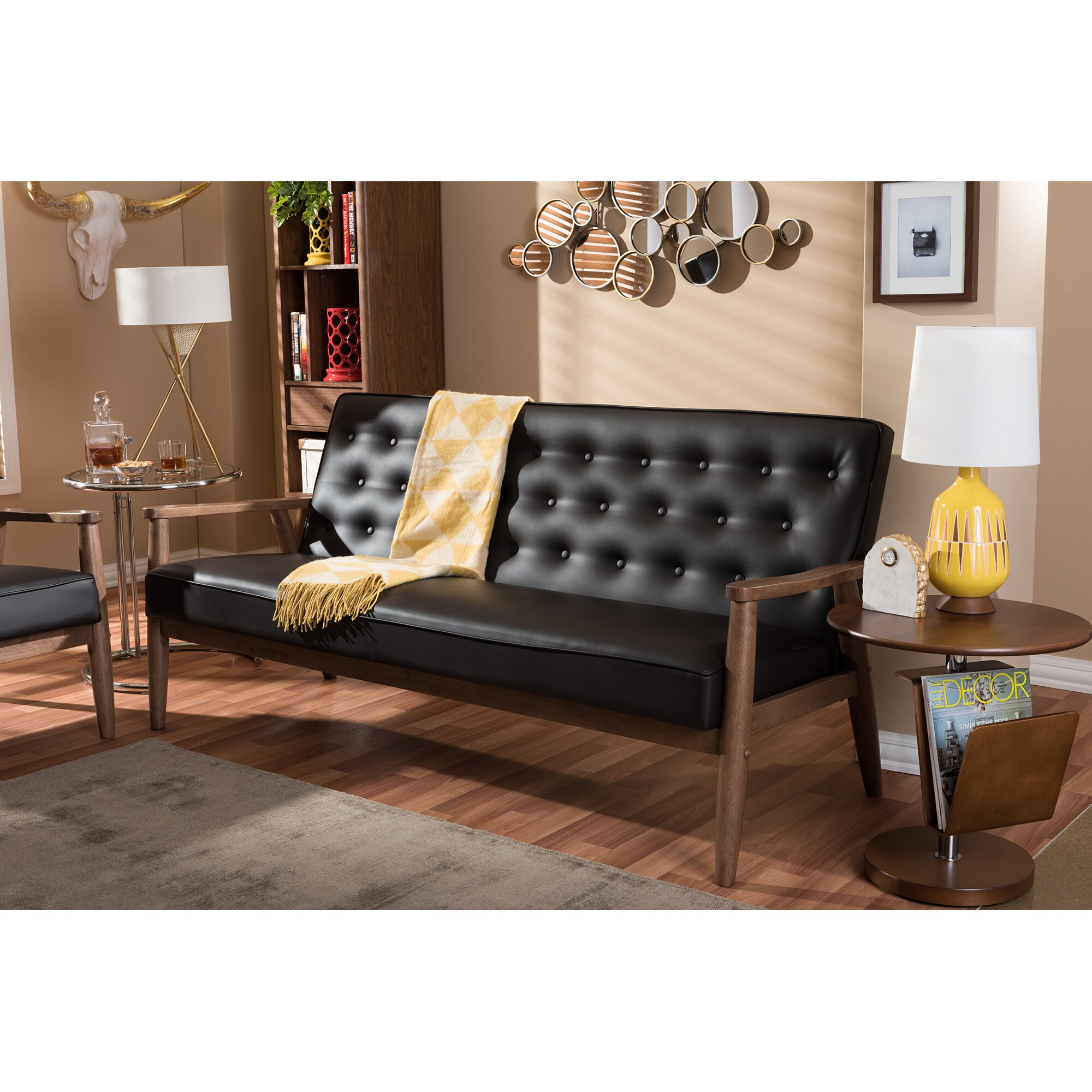 Vintage Upholstered Leather Sofa: Wholesale Interiors Baxton Studio Sofa & Reviews