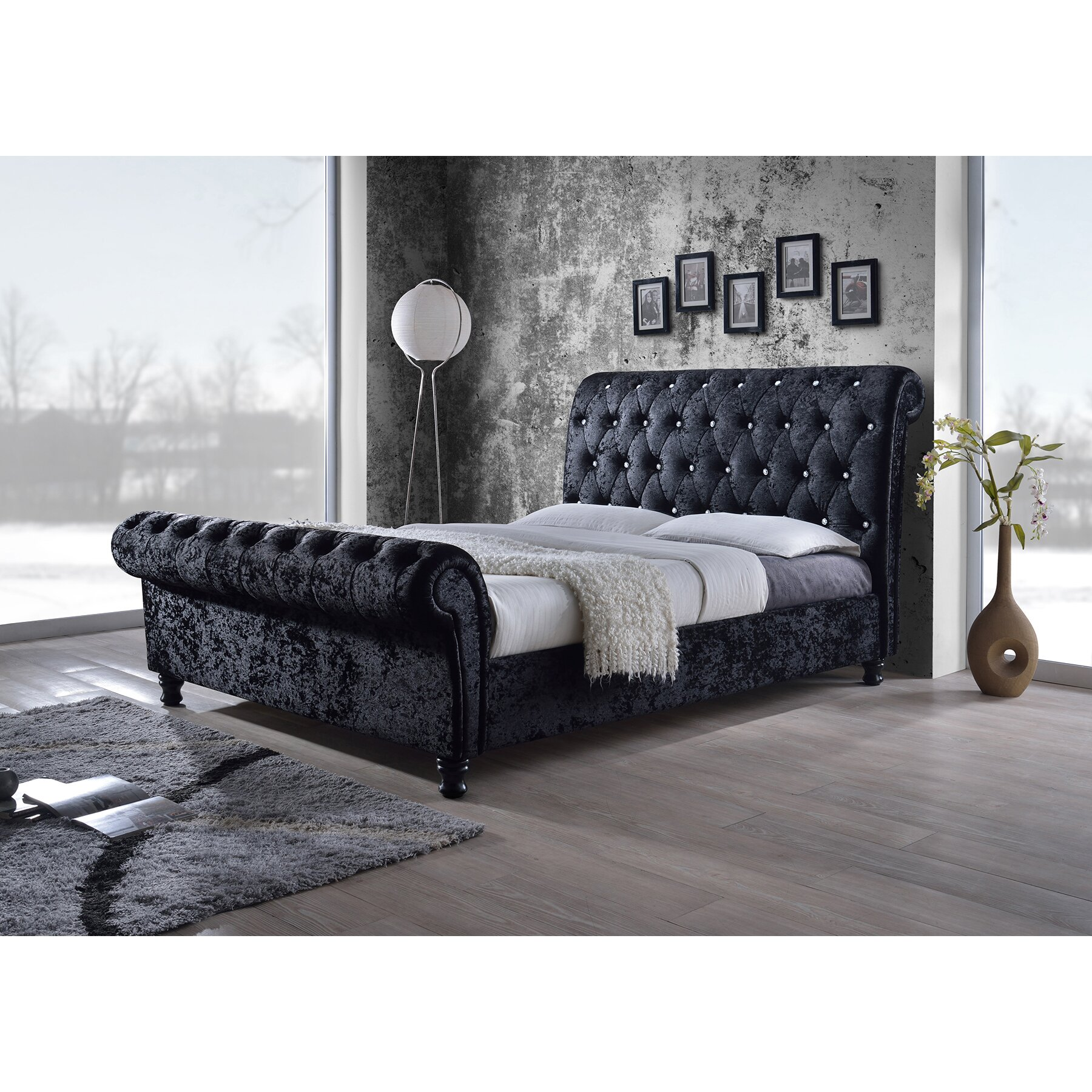 wholesale interiors baxton studio king upholstered sleigh bed reviews wayfair. Black Bedroom Furniture Sets. Home Design Ideas