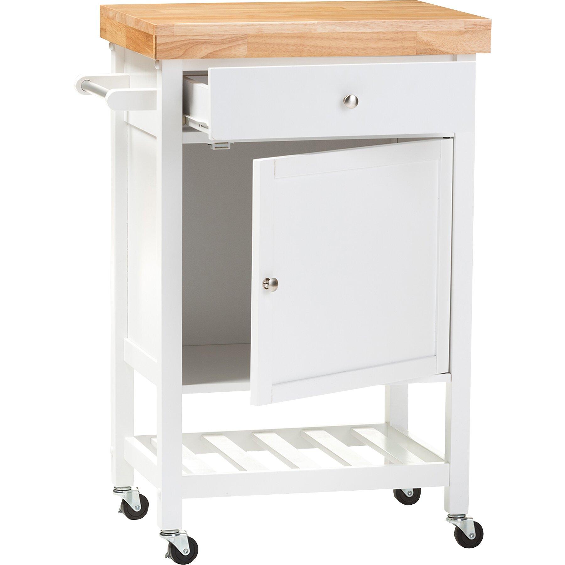 Wholesale Interiors Baxton Studio Kitchen Cart With Wood Top Reviews Wayfair